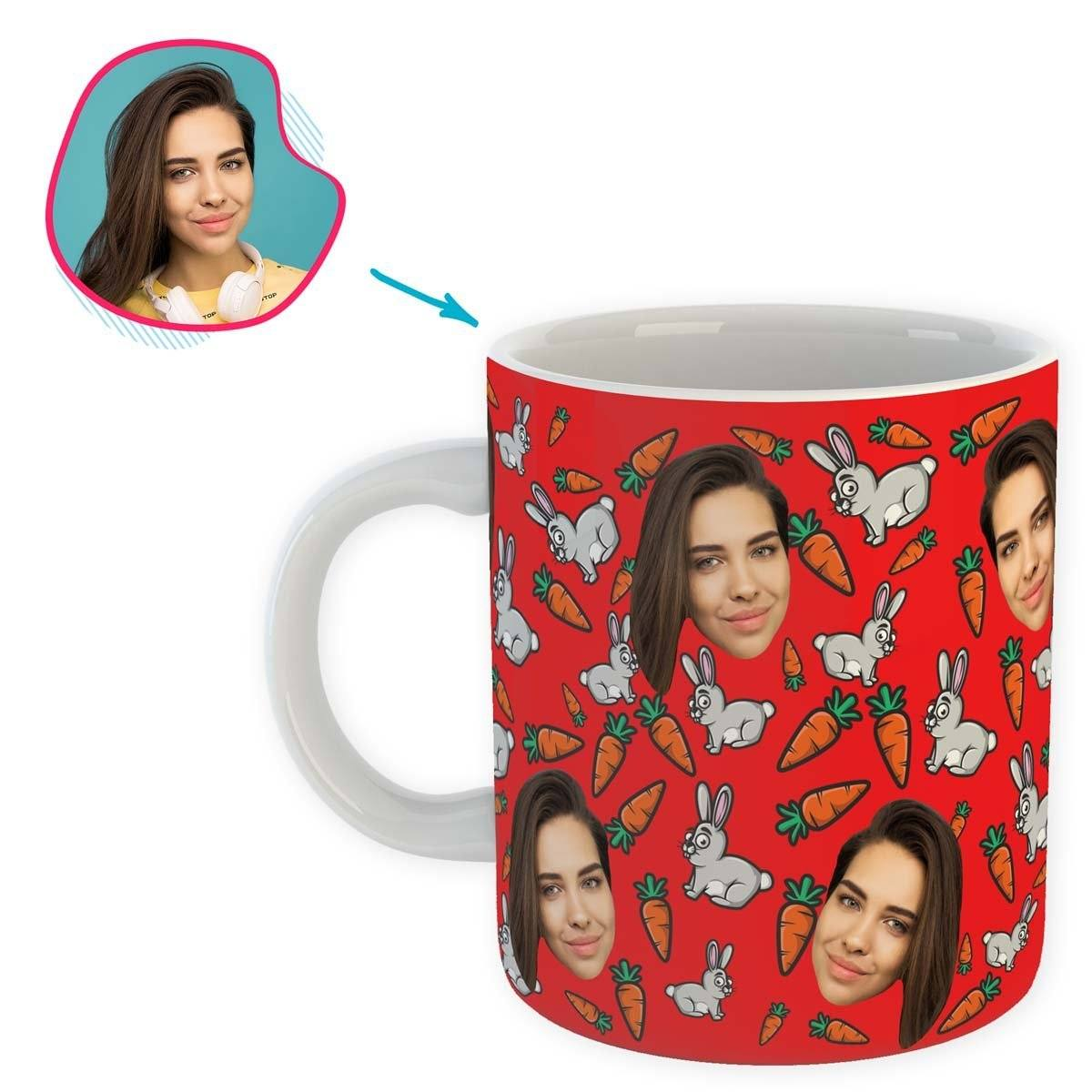 red Bunny mug personalized with photo of face printed on it