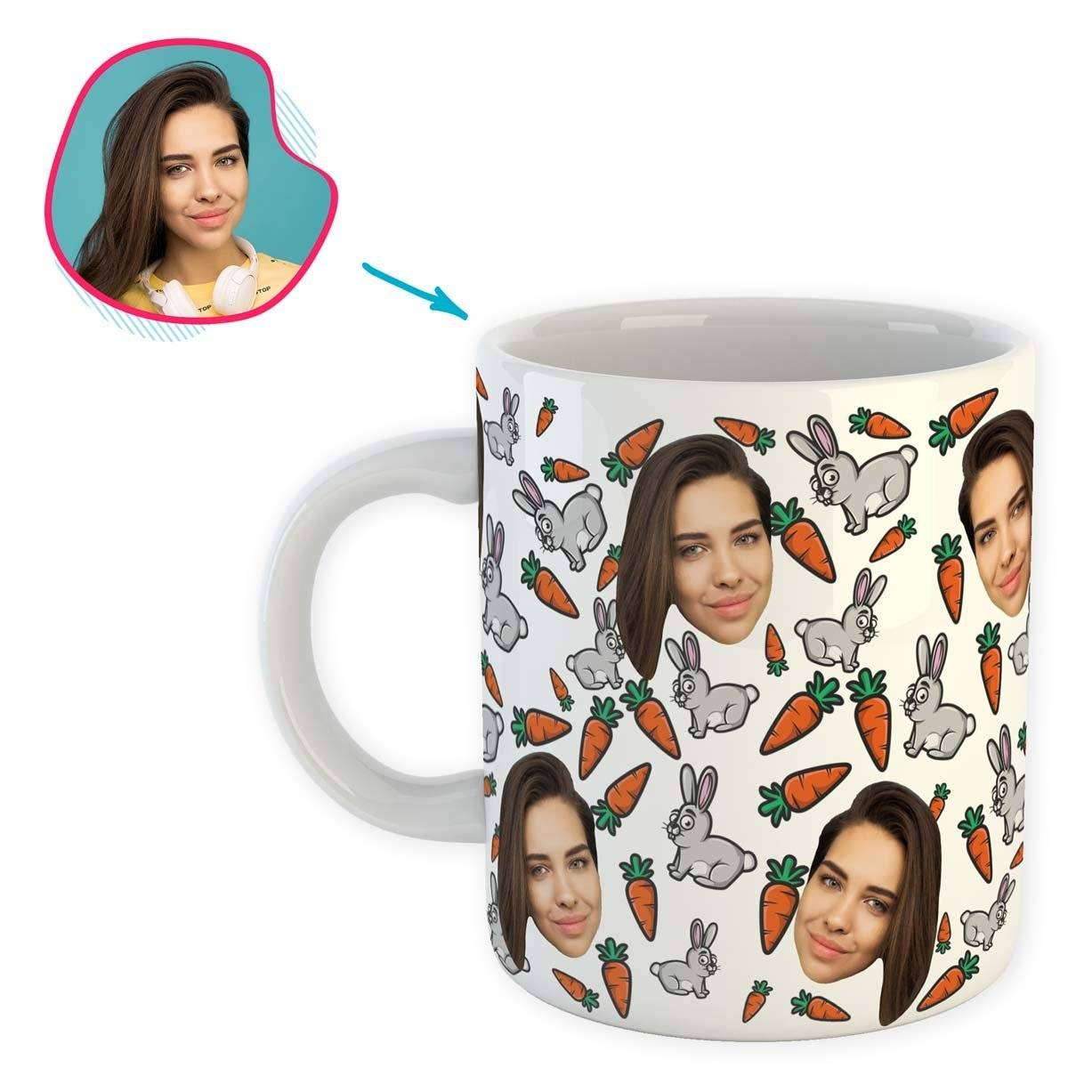 white Bunny mug personalized with photo of face printed on it