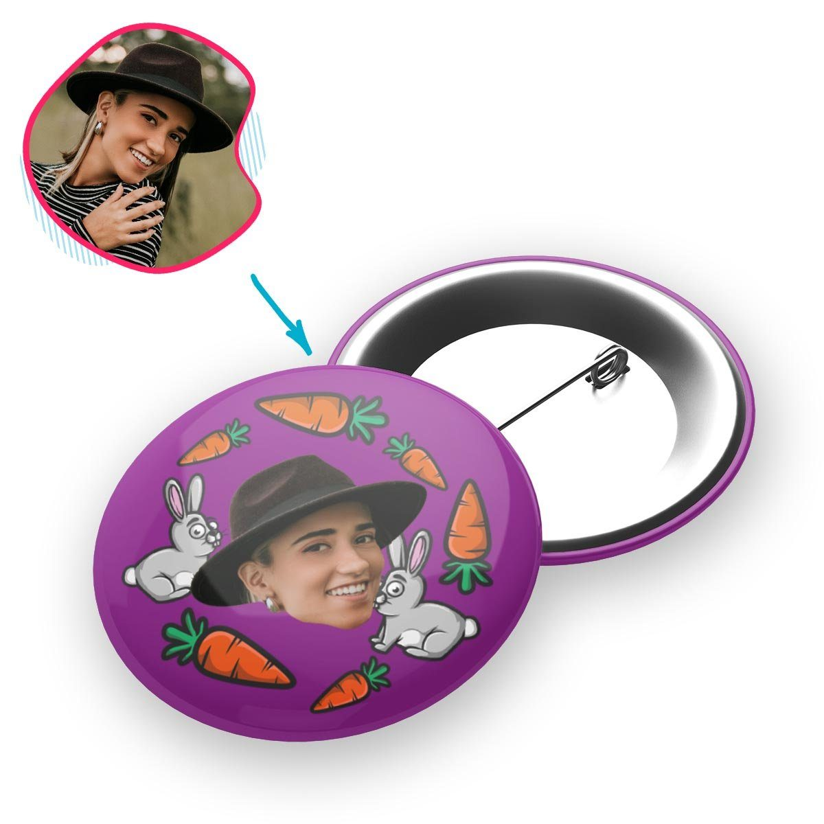 purple Bunny pin personalized with photo of face printed on it