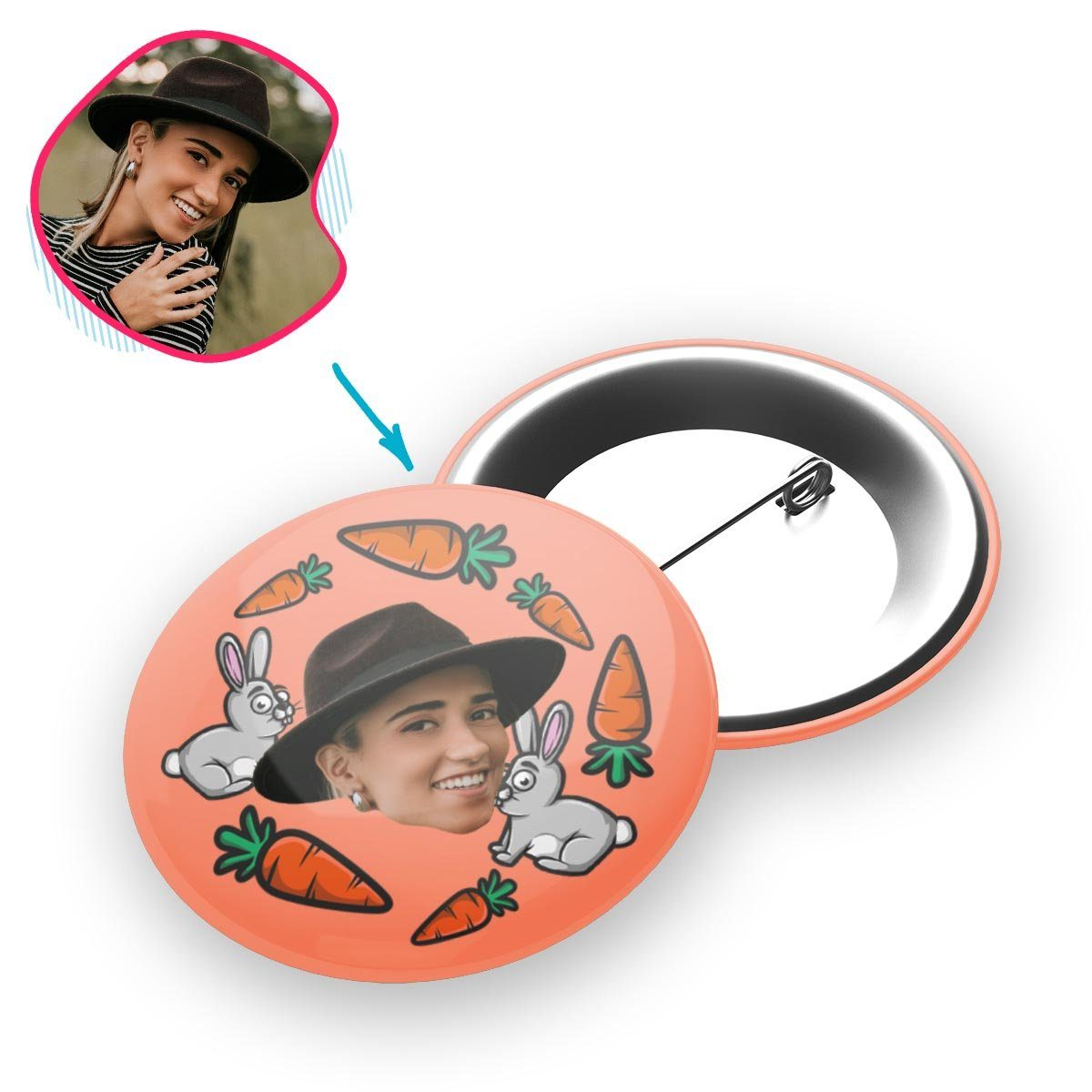 salmon Bunny pin personalized with photo of face printed on it