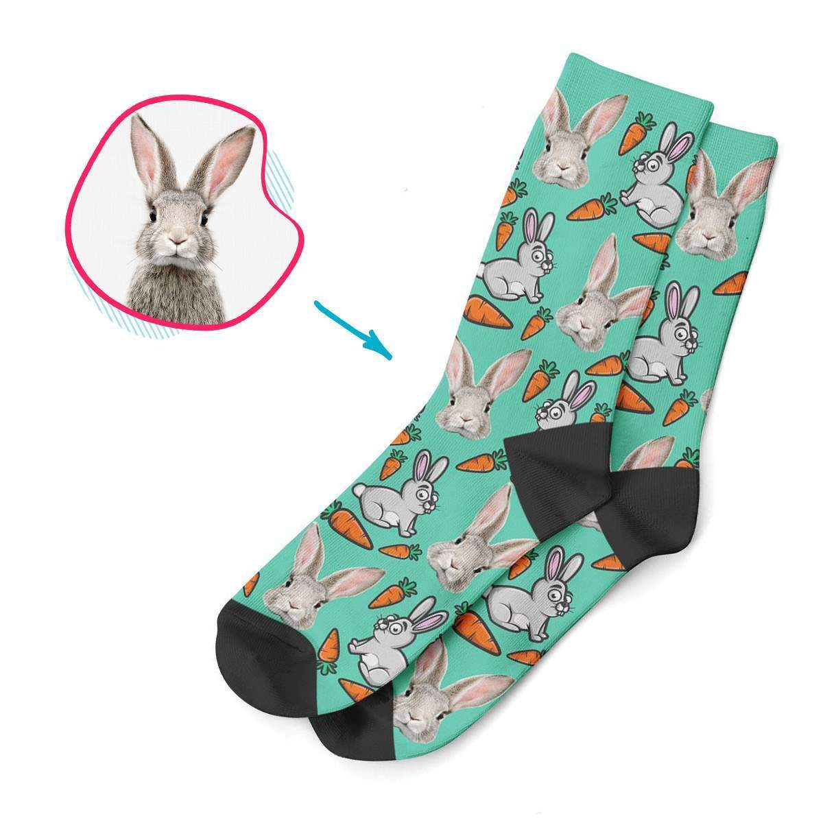mint Bunny socks personalized with photo of face printed on them