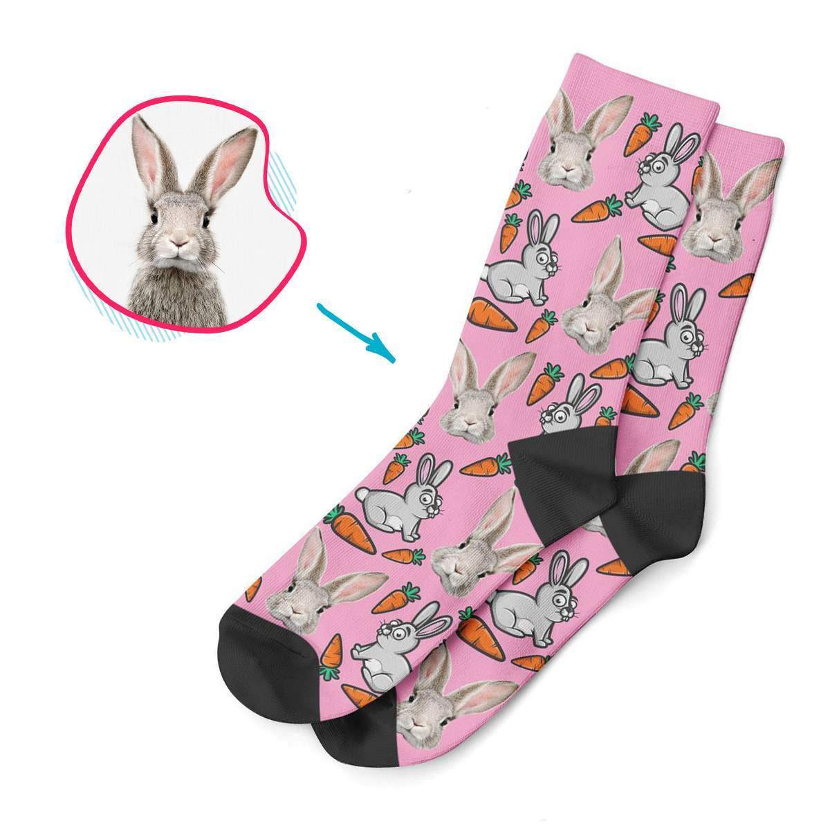 pink Bunny socks personalized with photo of face printed on them