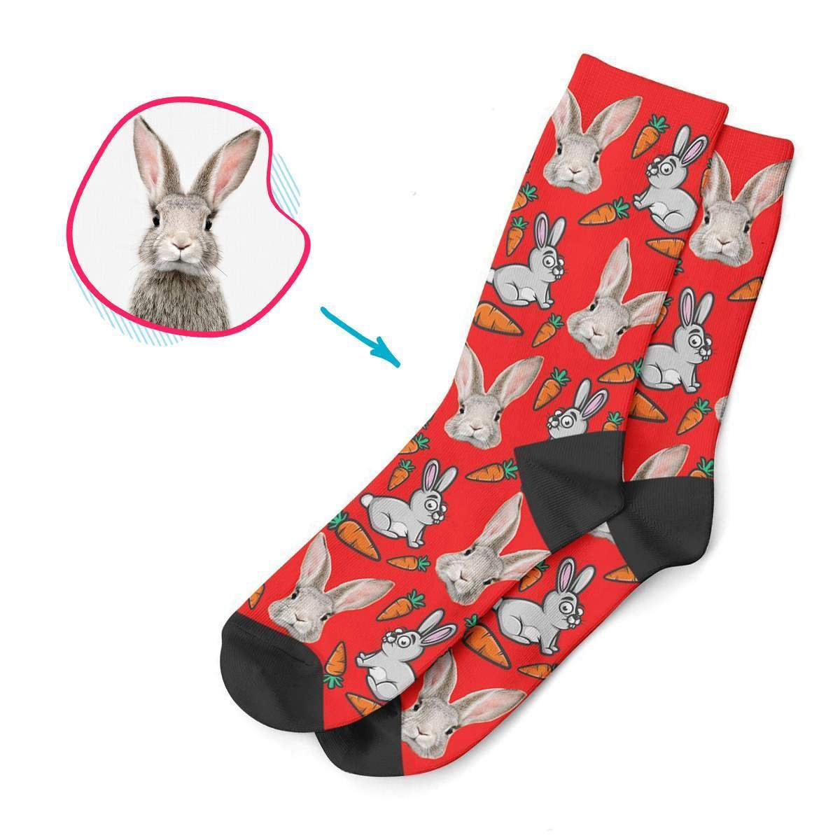 red Bunny socks personalized with photo of face printed on them
