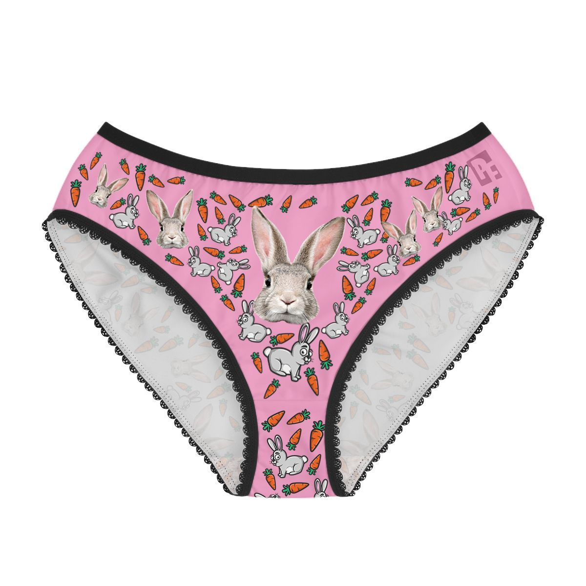 Pink Bunny women's underwear briefs personalized with photo printed on them
