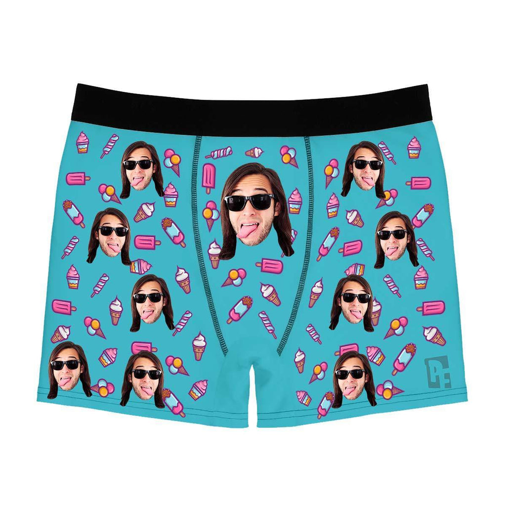 Blue Candies men's boxer briefs personalized with photo printed on them