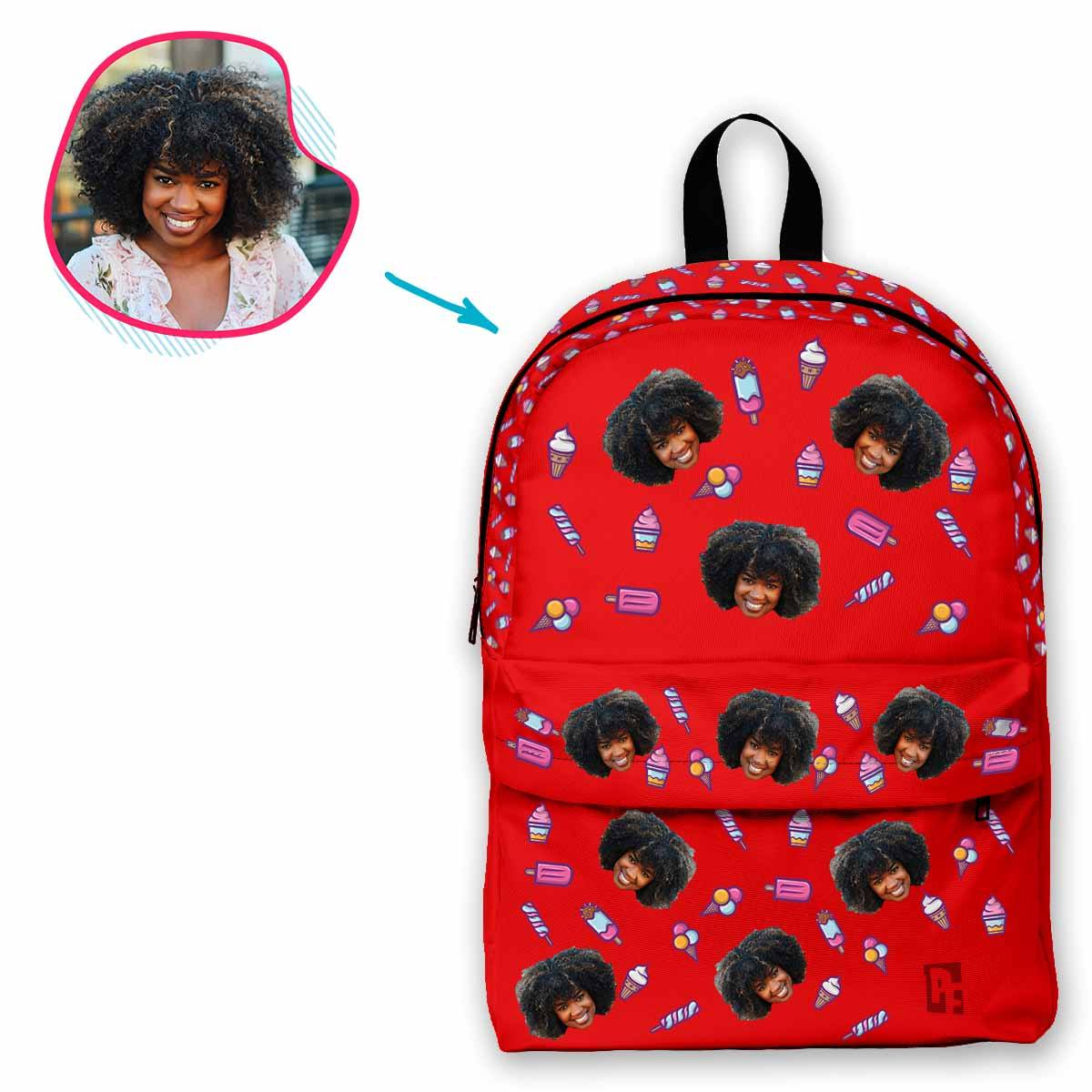 red Candies classic backpack personalized with photo of face printed on it