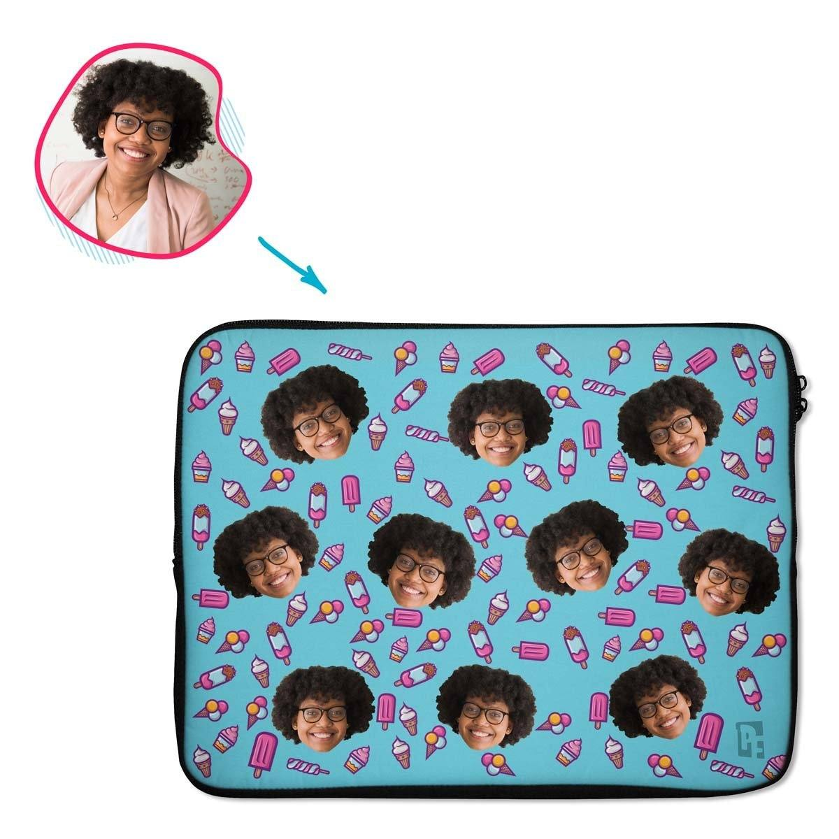 blue Candies laptop sleeve personalized with photo of face printed on them