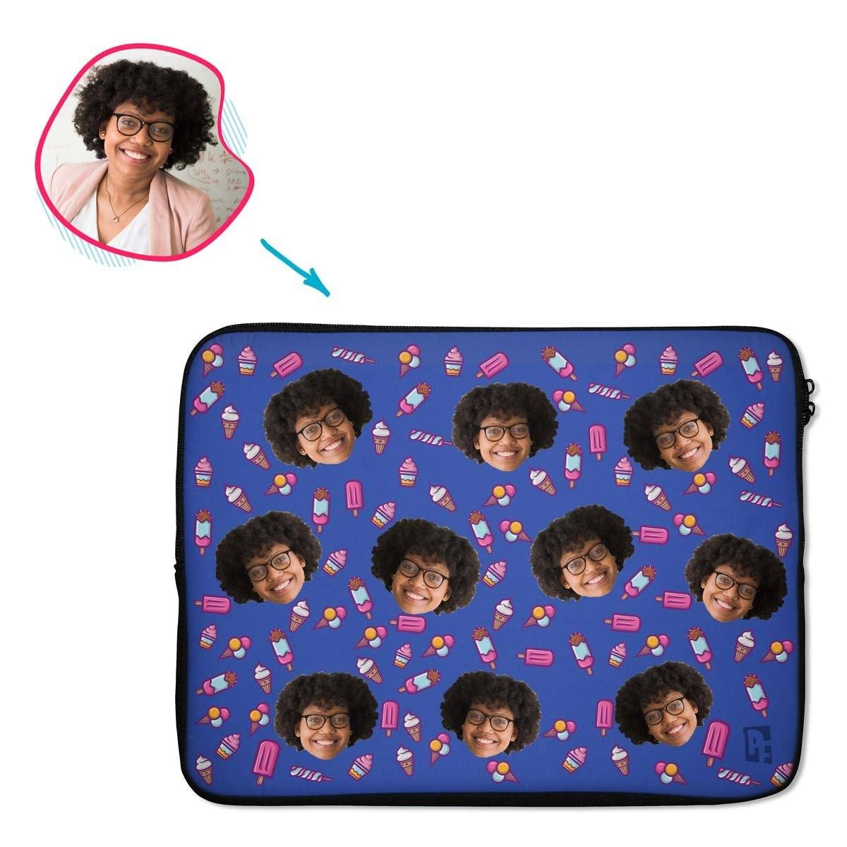 darkblue Candies laptop sleeve personalized with photo of face printed on them