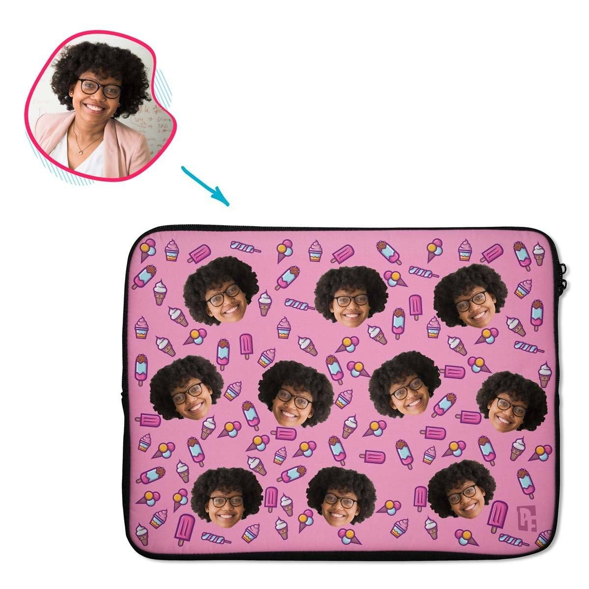 pink Candies laptop sleeve personalized with photo of face printed on them