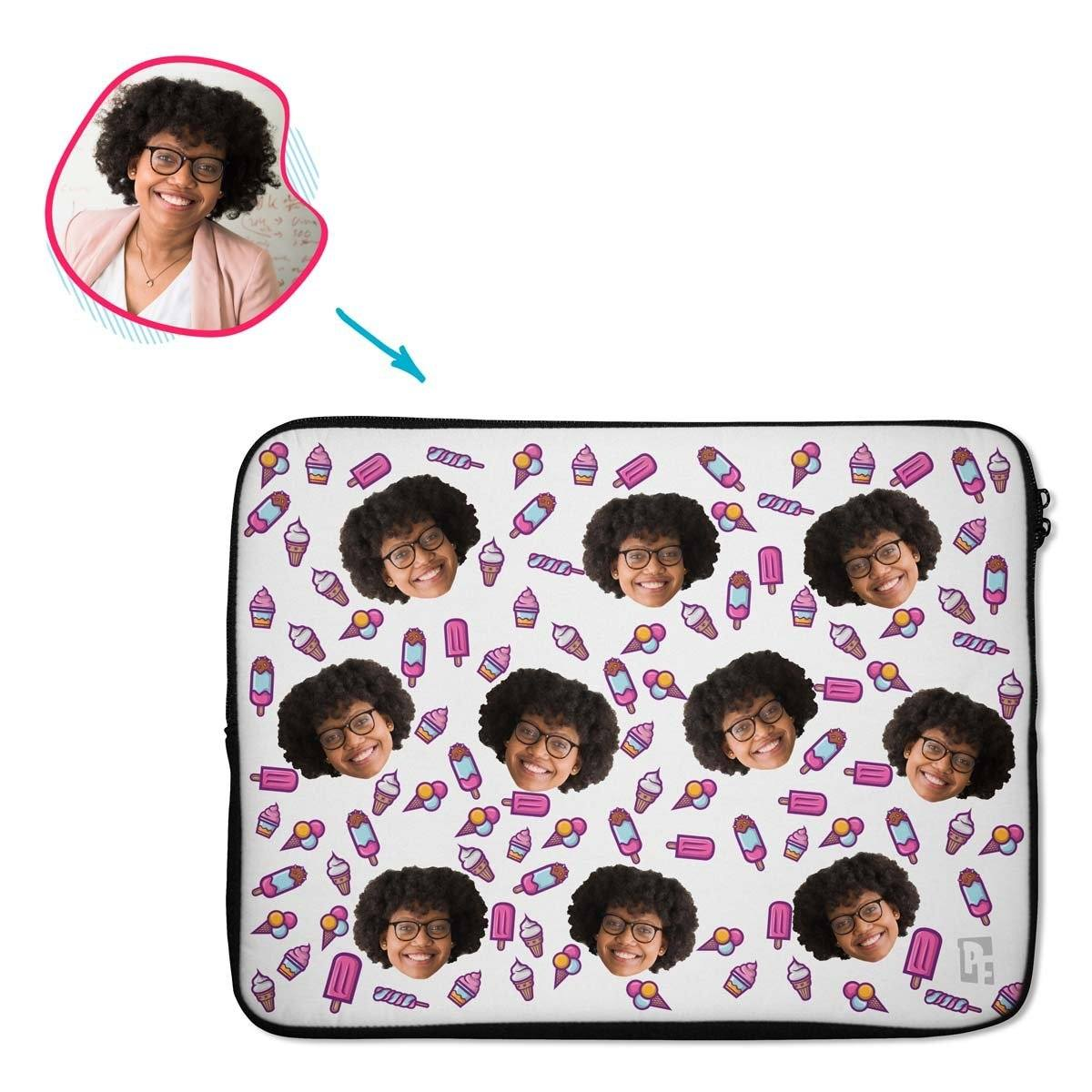 white Candies laptop sleeve personalized with photo of face printed on them