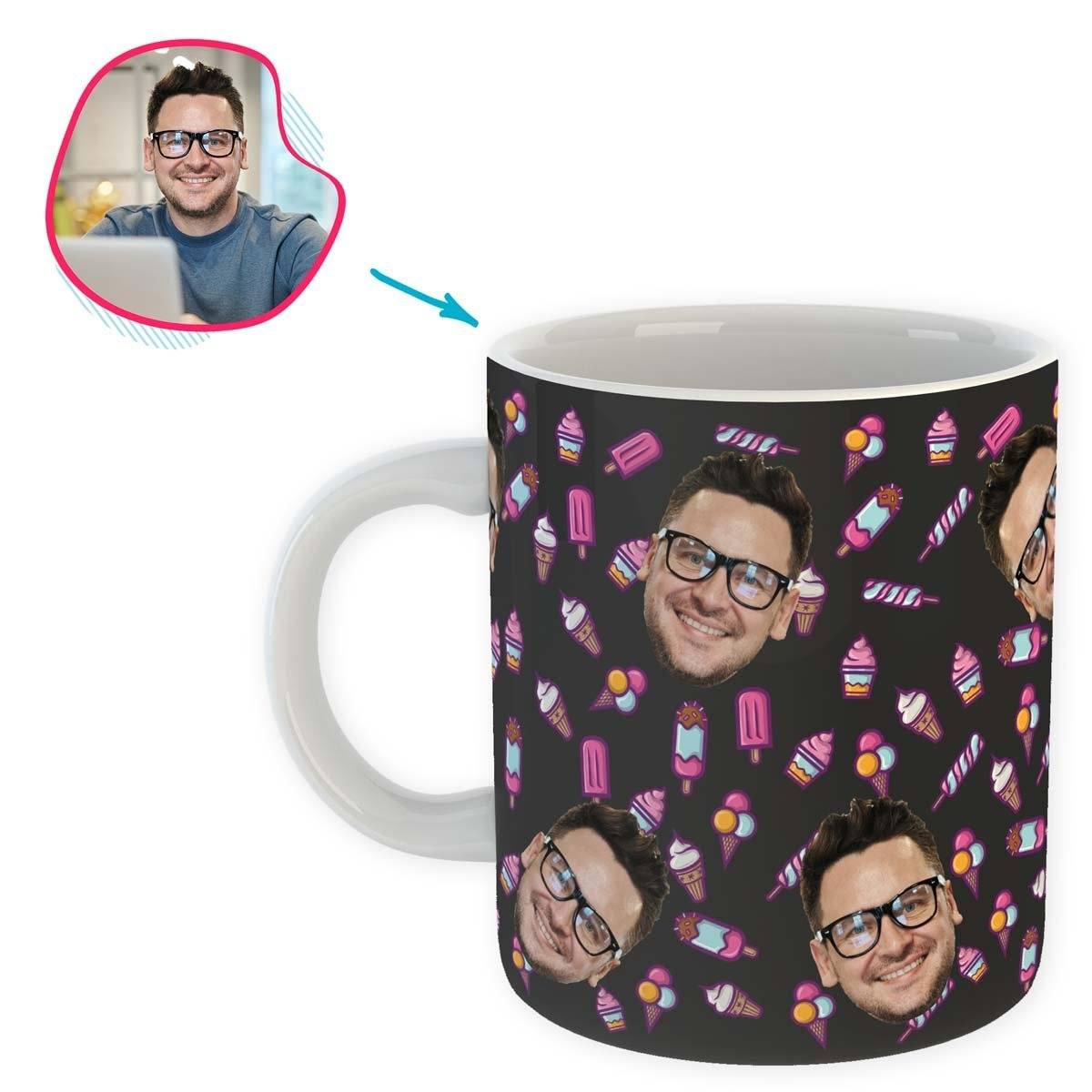 dark Candies mug personalized with photo of face printed on it