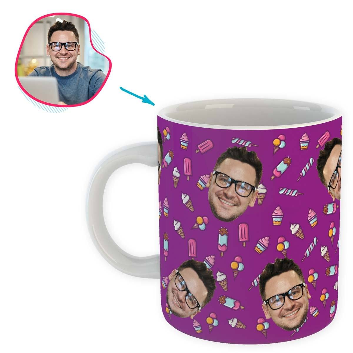 purple Candies mug personalized with photo of face printed on it