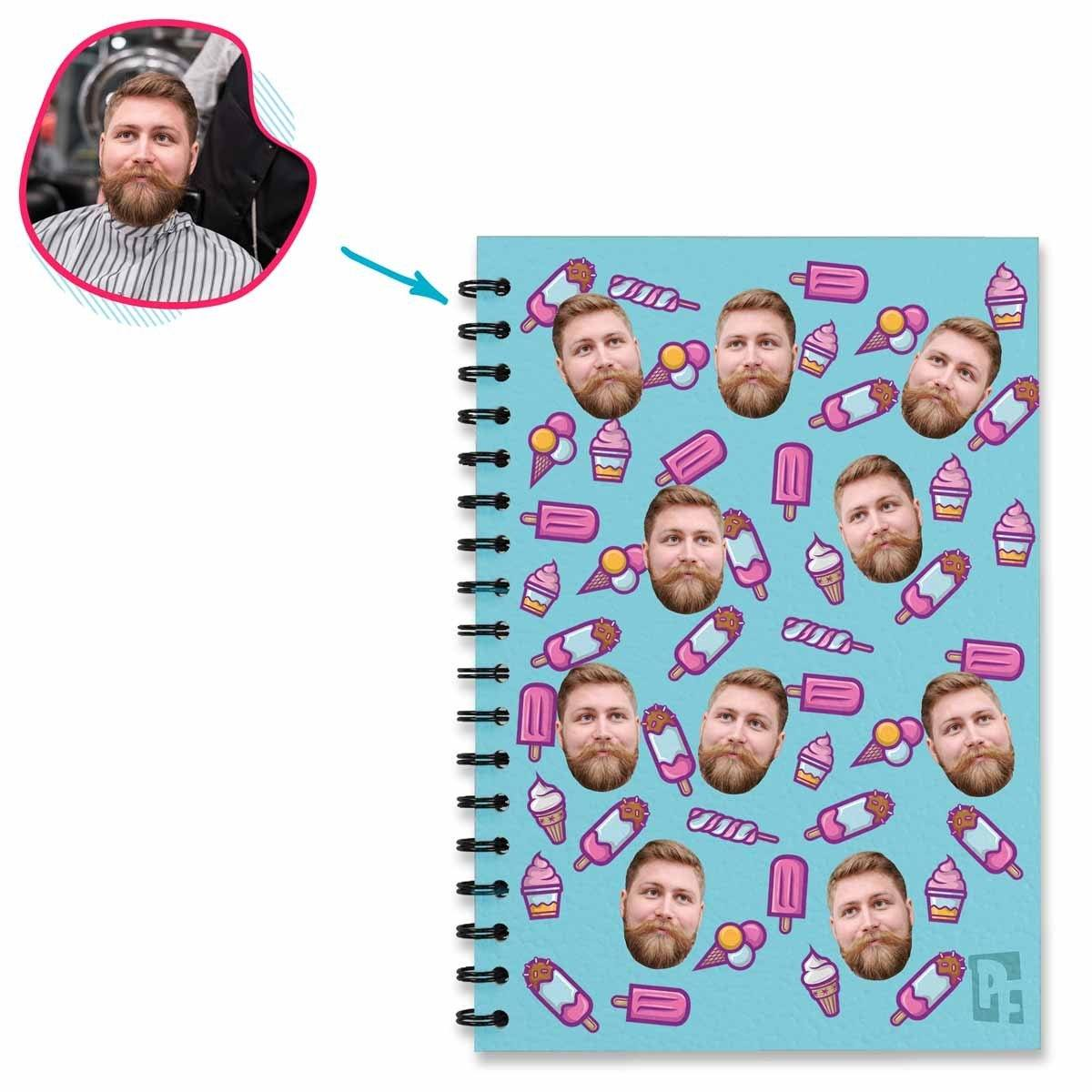 blue Candies Notebook personalized with photo of face printed on them