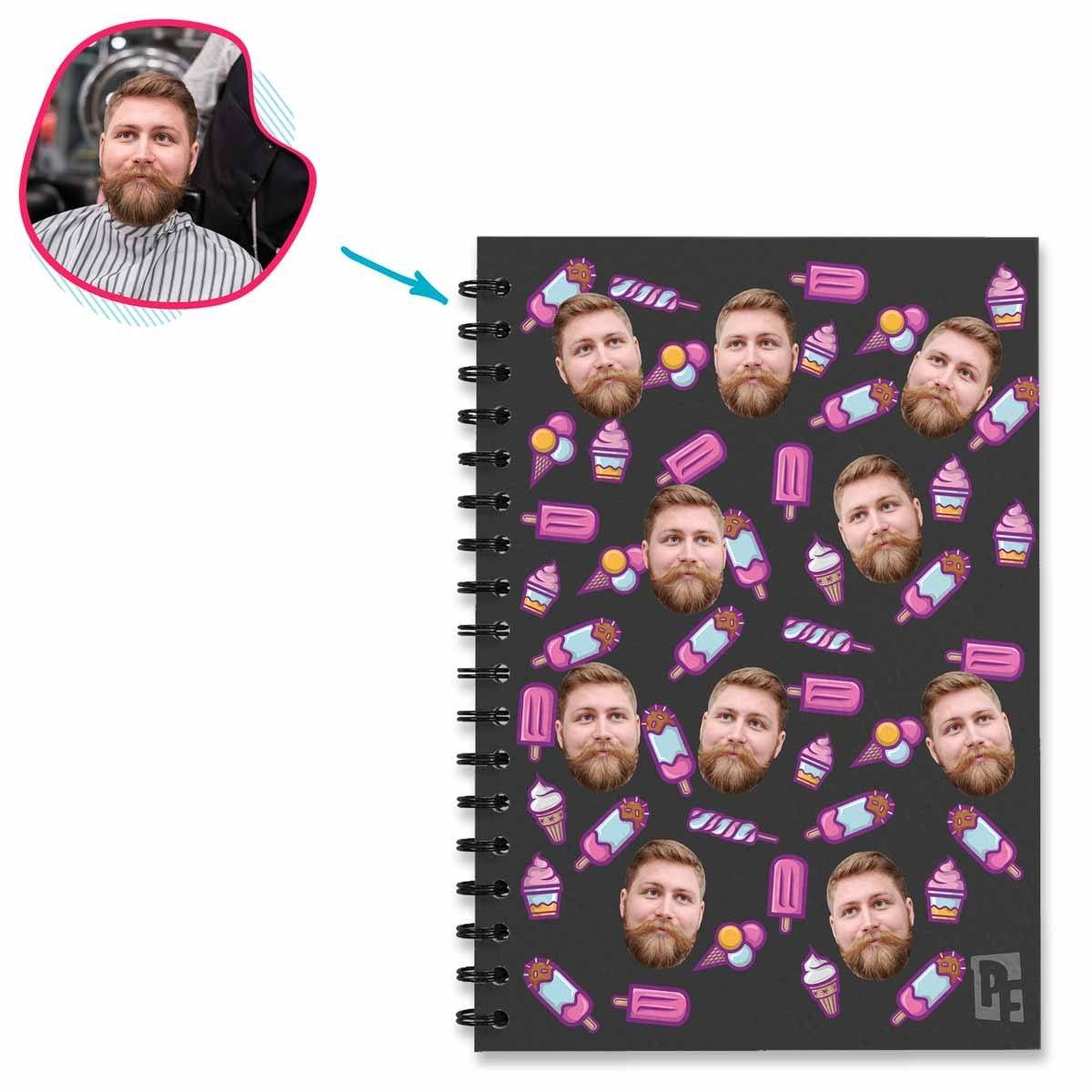 dark Candies Notebook personalized with photo of face printed on them