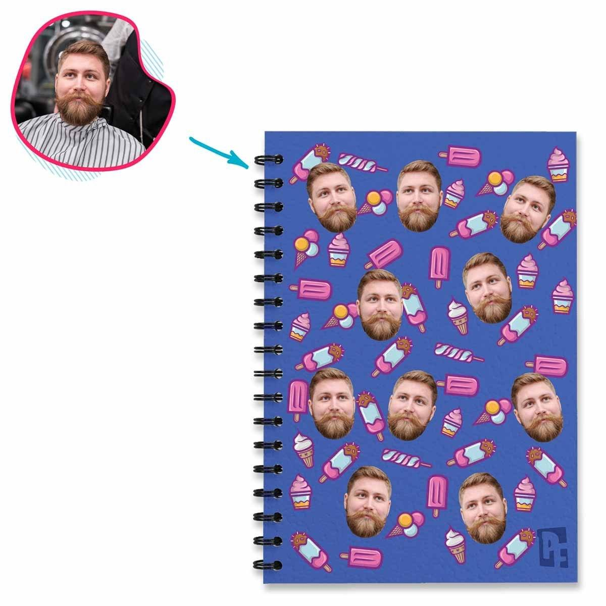 darkblue Candies Notebook personalized with photo of face printed on them