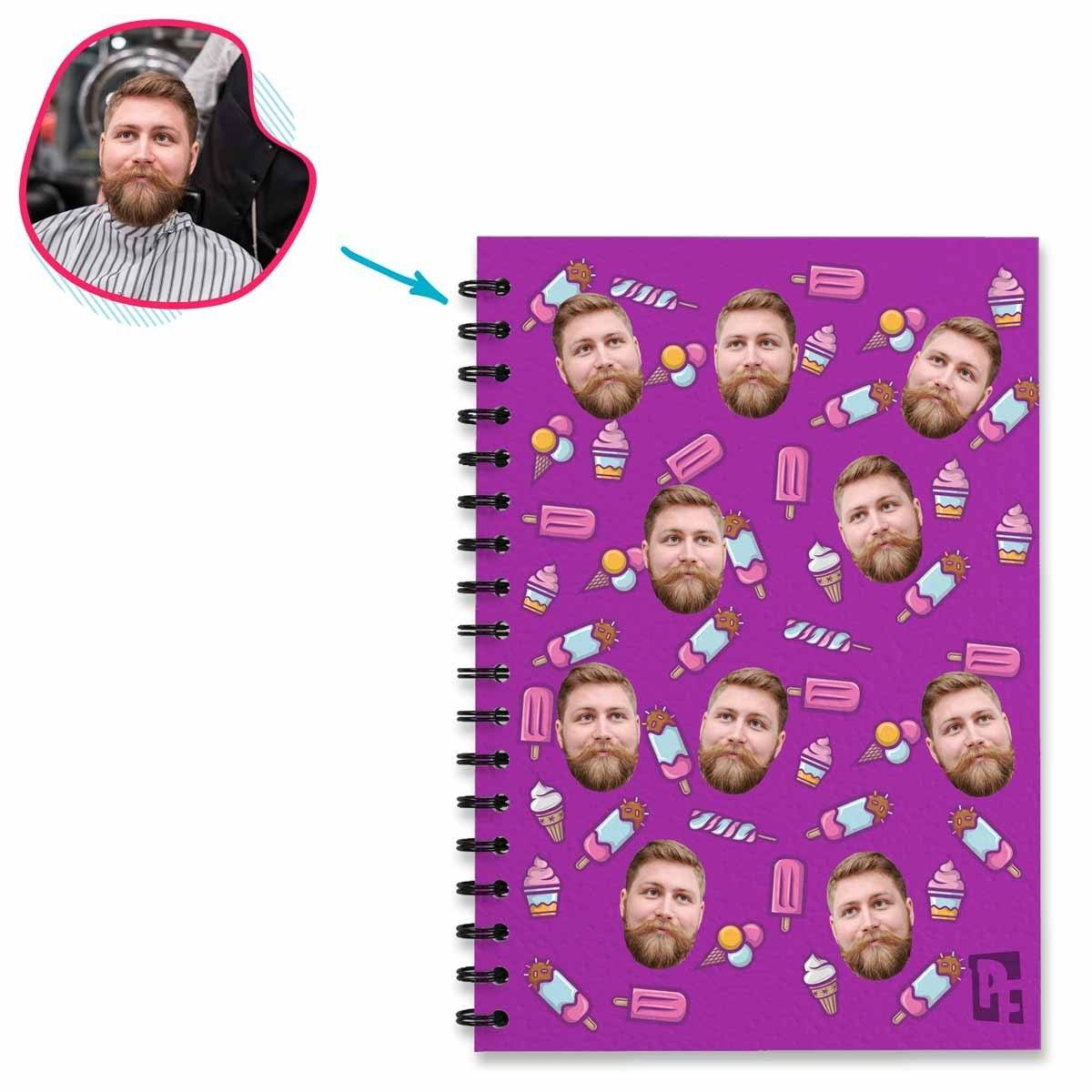 purple Candies Notebook personalized with photo of face printed on them