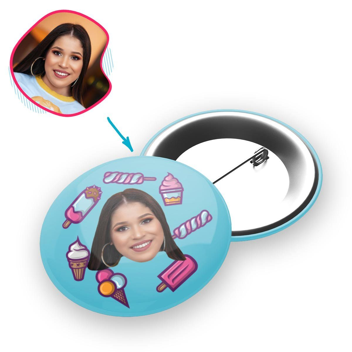 blue Candies pin personalized with photo of face printed on it