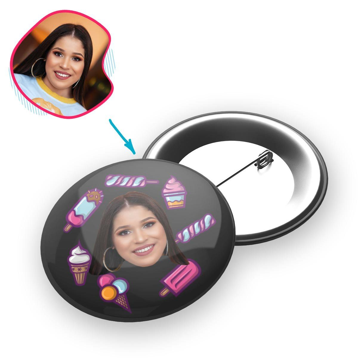 dark Candies pin personalized with photo of face printed on it