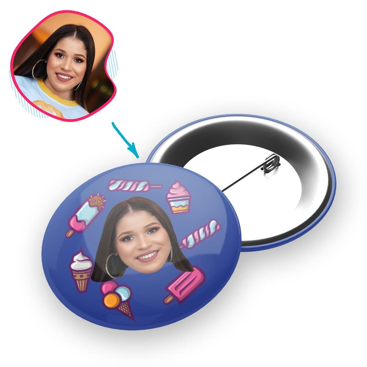 darkblue Candies pin personalized with photo of face printed on it