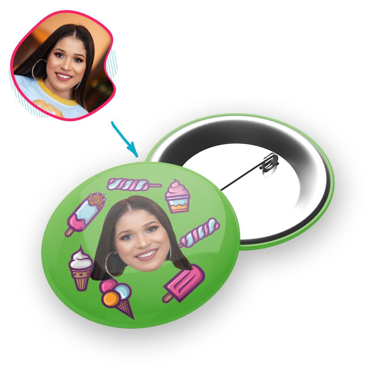 green Candies pin personalized with photo of face printed on it
