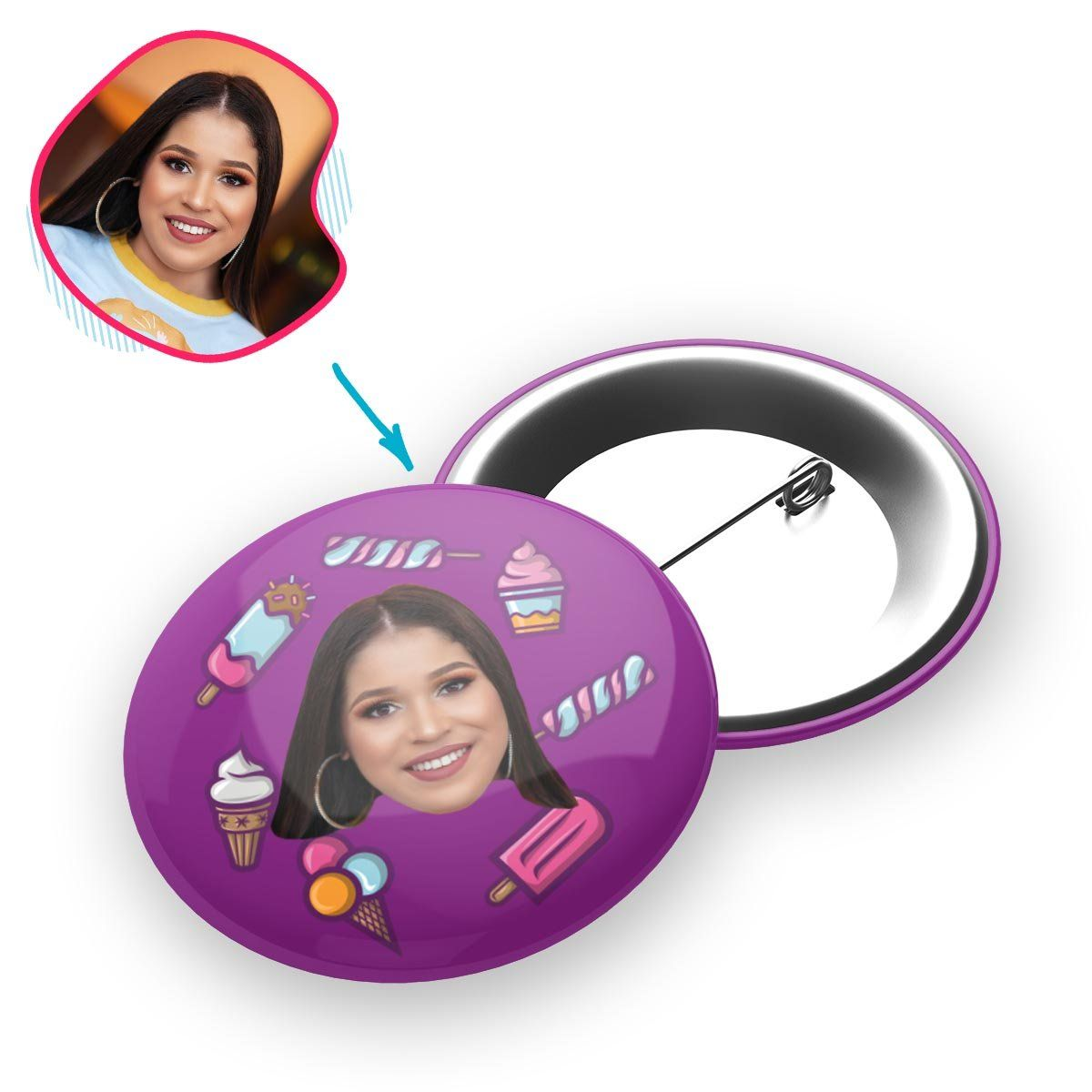 purple Candies pin personalized with photo of face printed on it