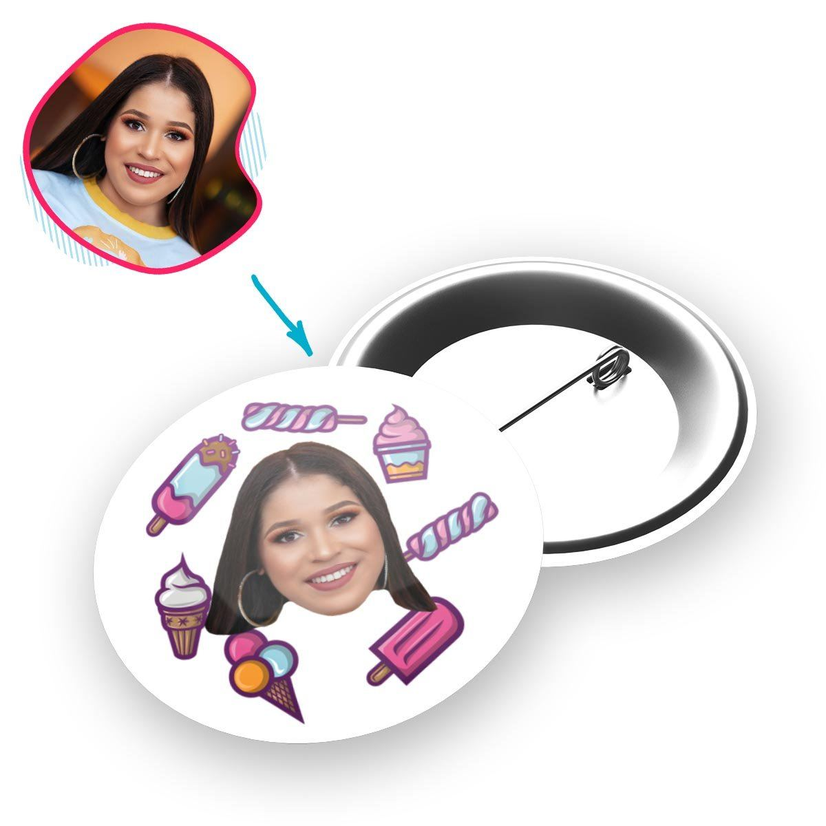 white Candies pin personalized with photo of face printed on it