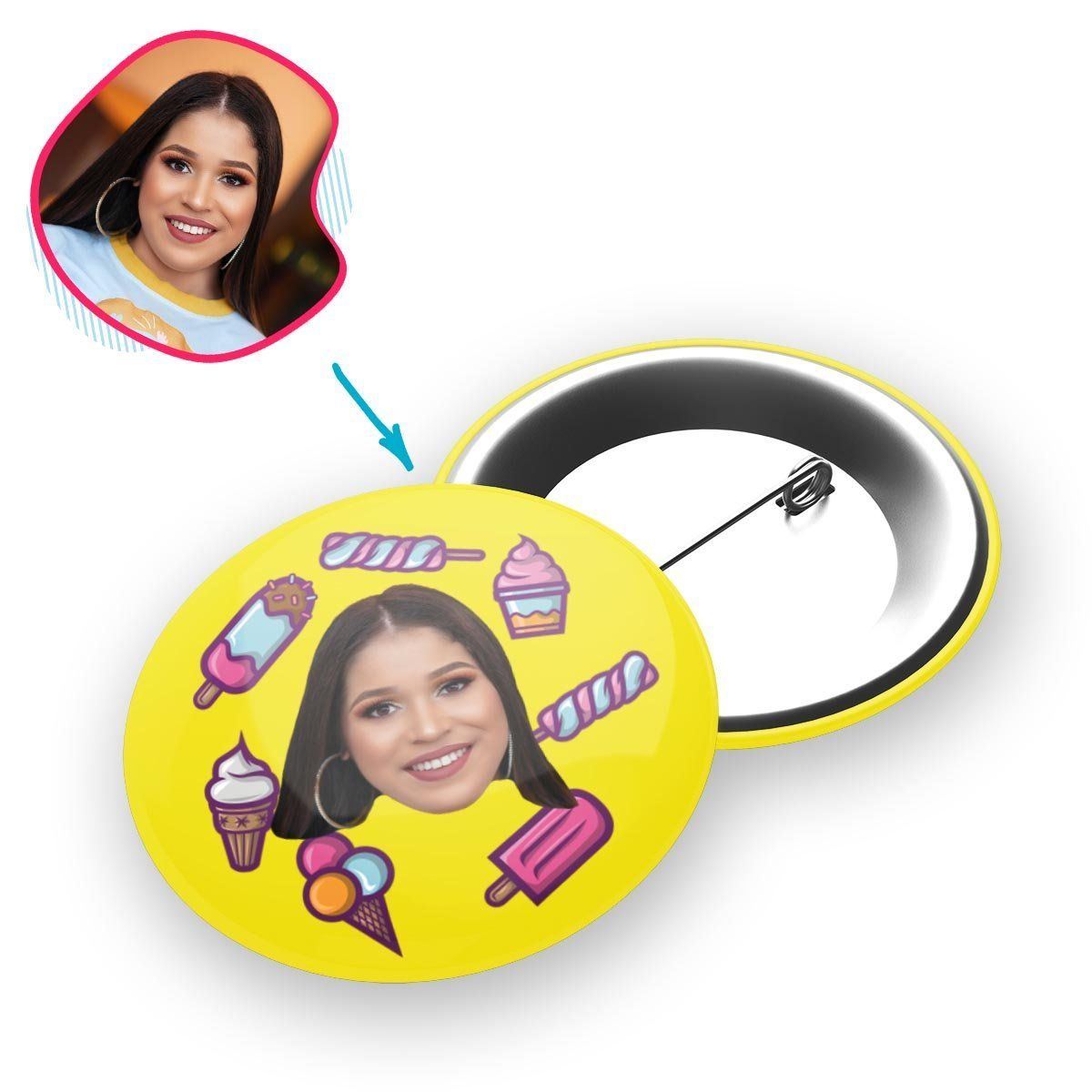 yellow Candies pin personalized with photo of face printed on it