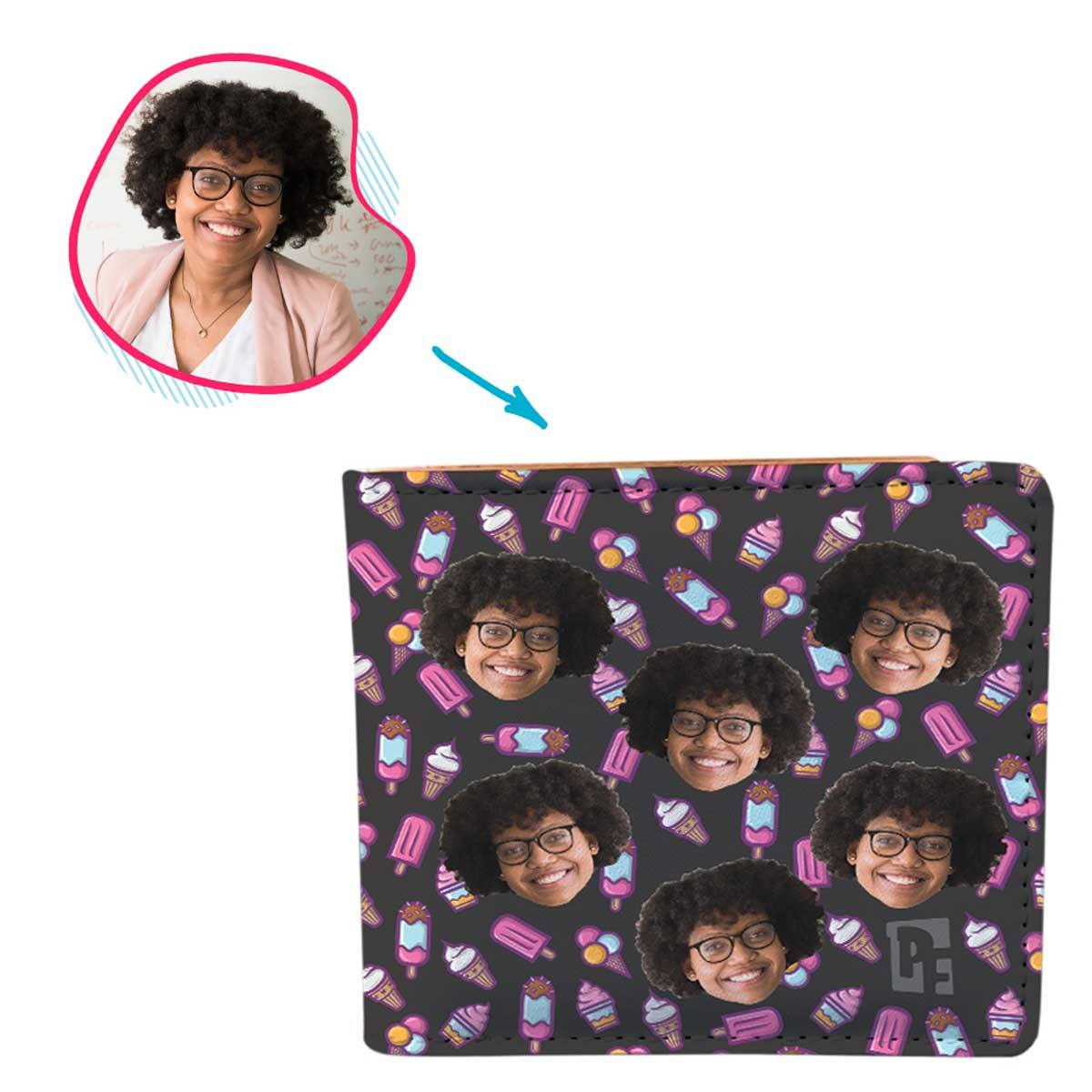 dark Candies wallet personalized with photo of face printed on it