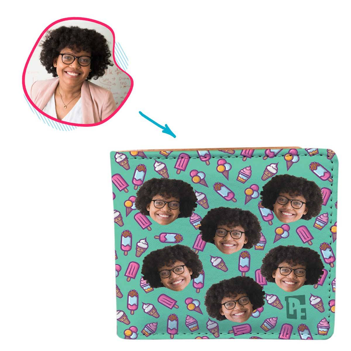 mint Candies wallet personalized with photo of face printed on it
