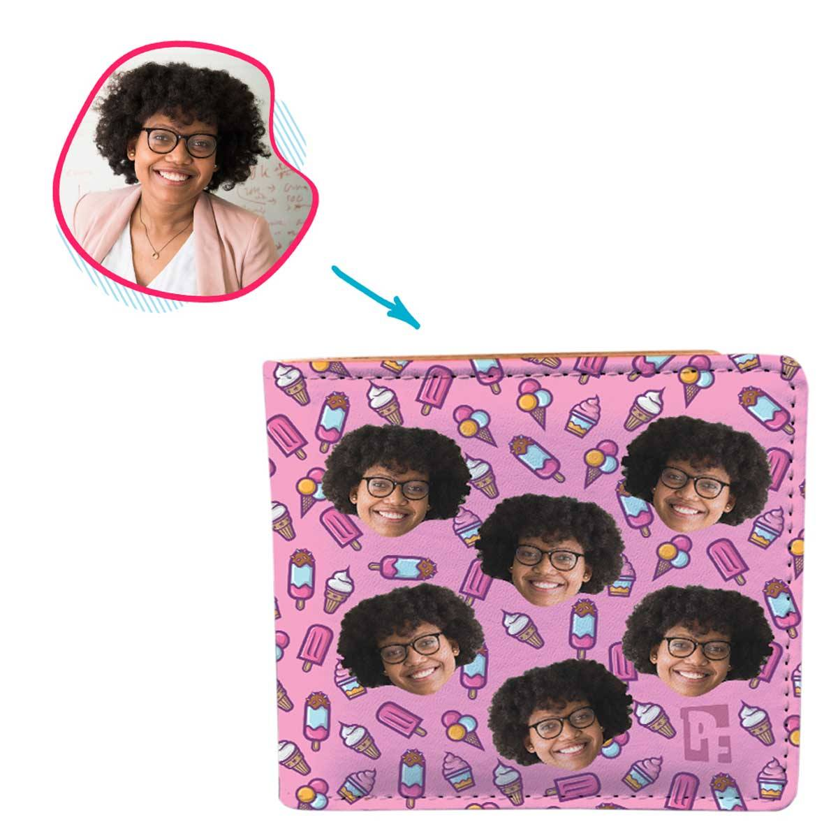 pink Candies wallet personalized with photo of face printed on it