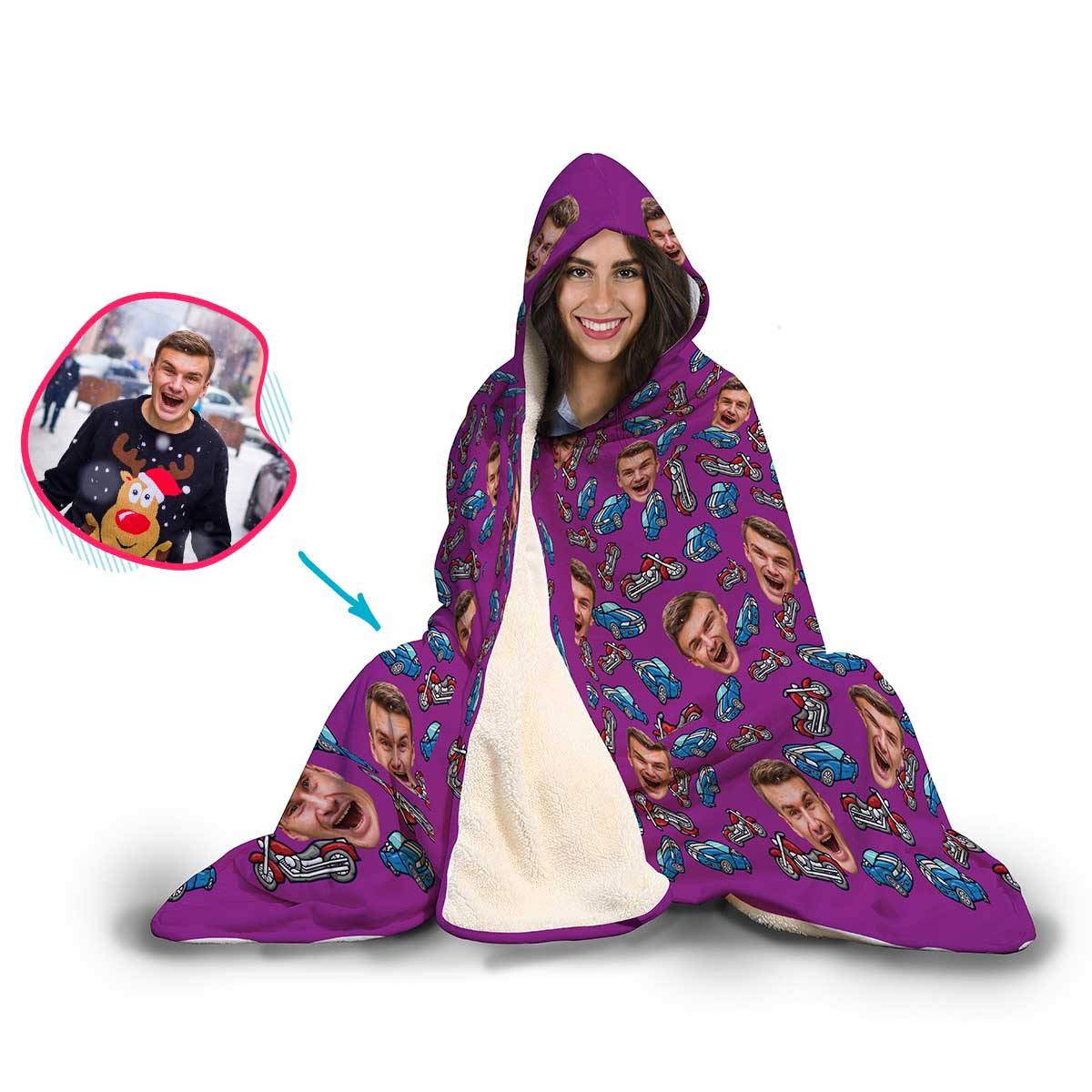 Cars & Motorbikes Personalized Hooded Blanket