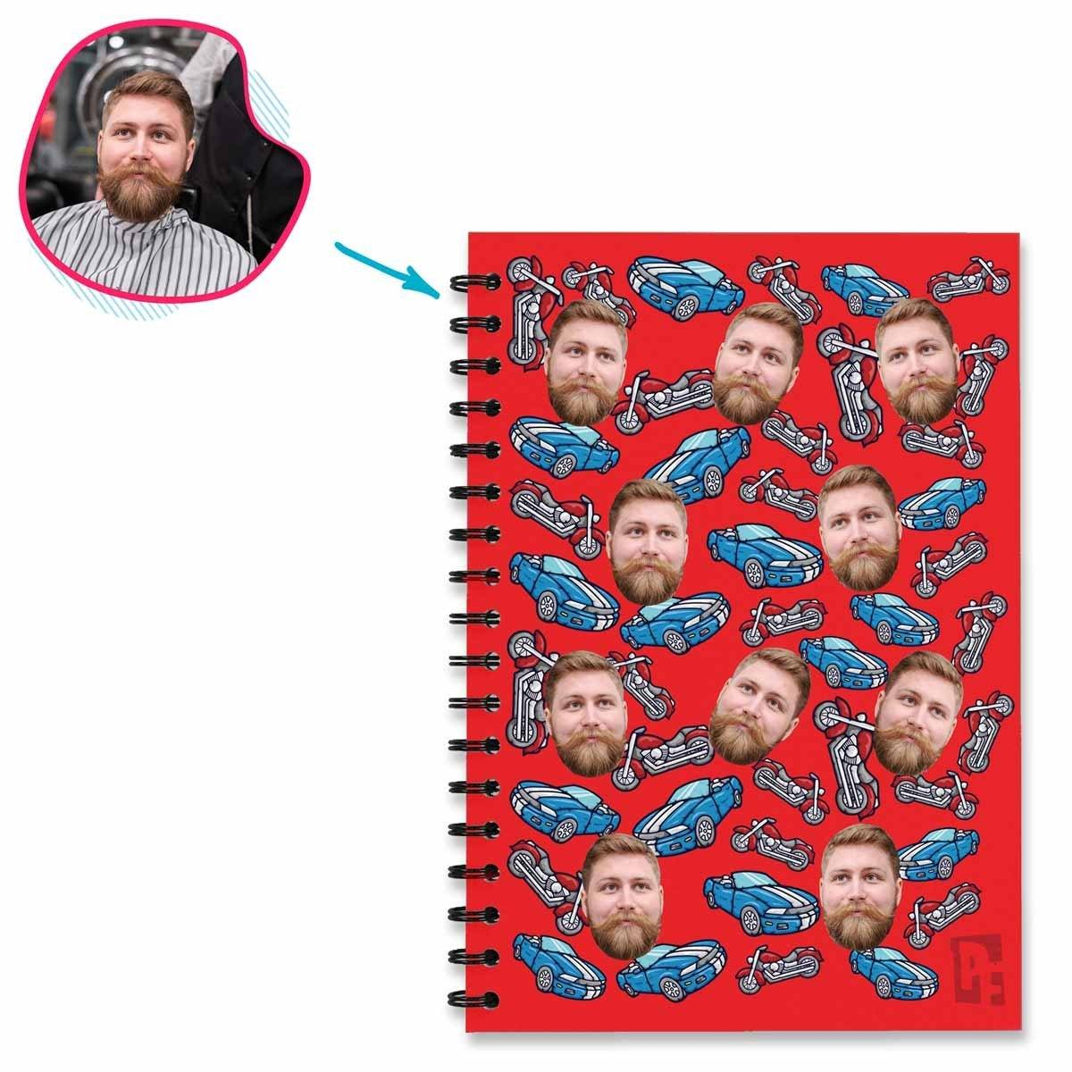 Red Auntie personalized notebook with photo of face printed on them