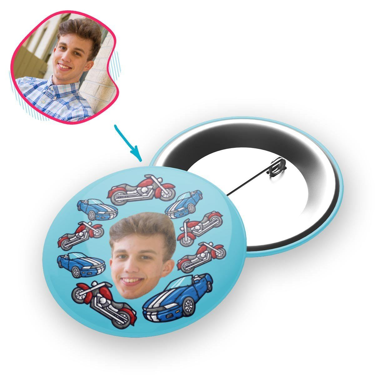 Blue Cars & Motorbikes personalized pin with photo of face printed on it