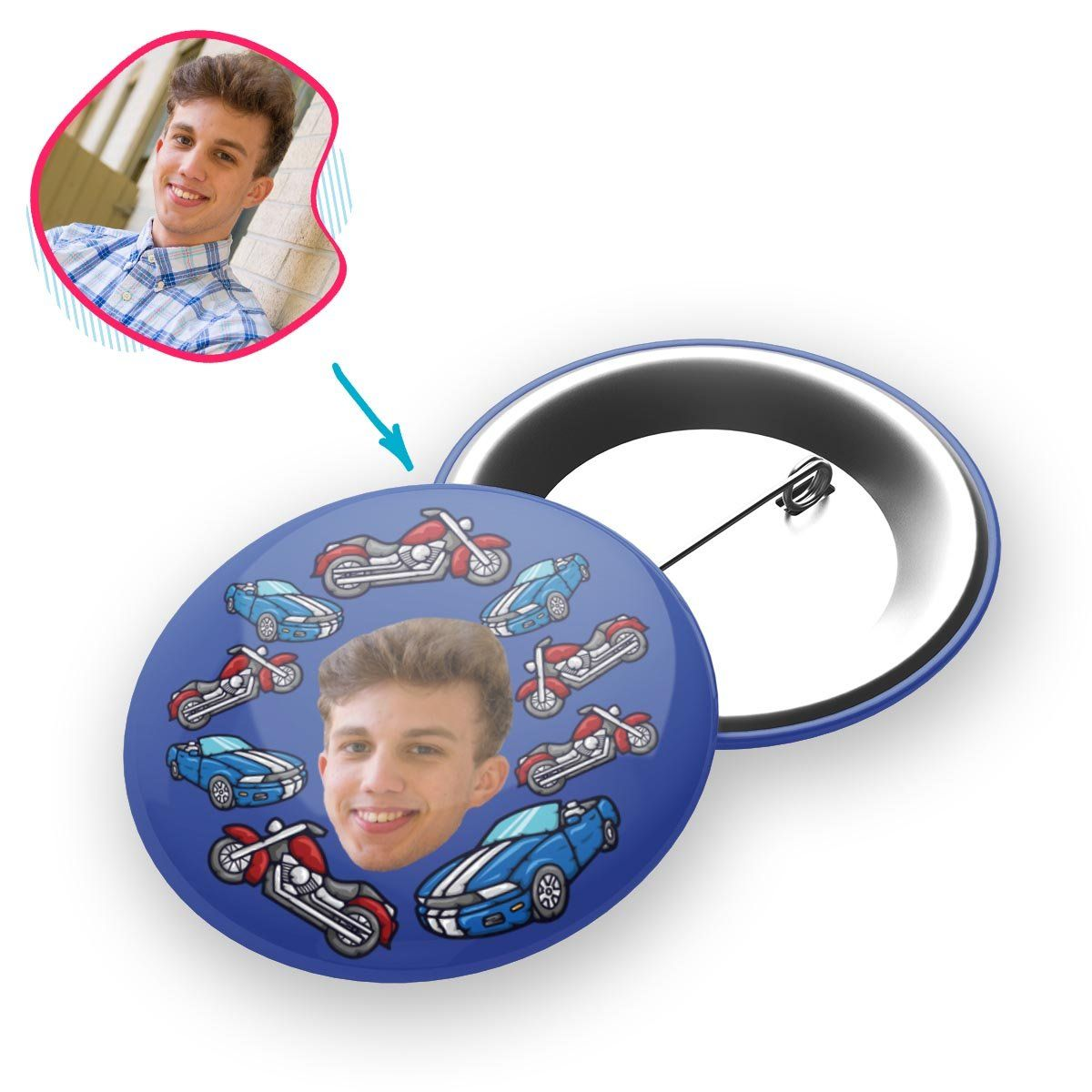 Darkblue Cars & Motorbikes personalized pin with photo of face printed on it