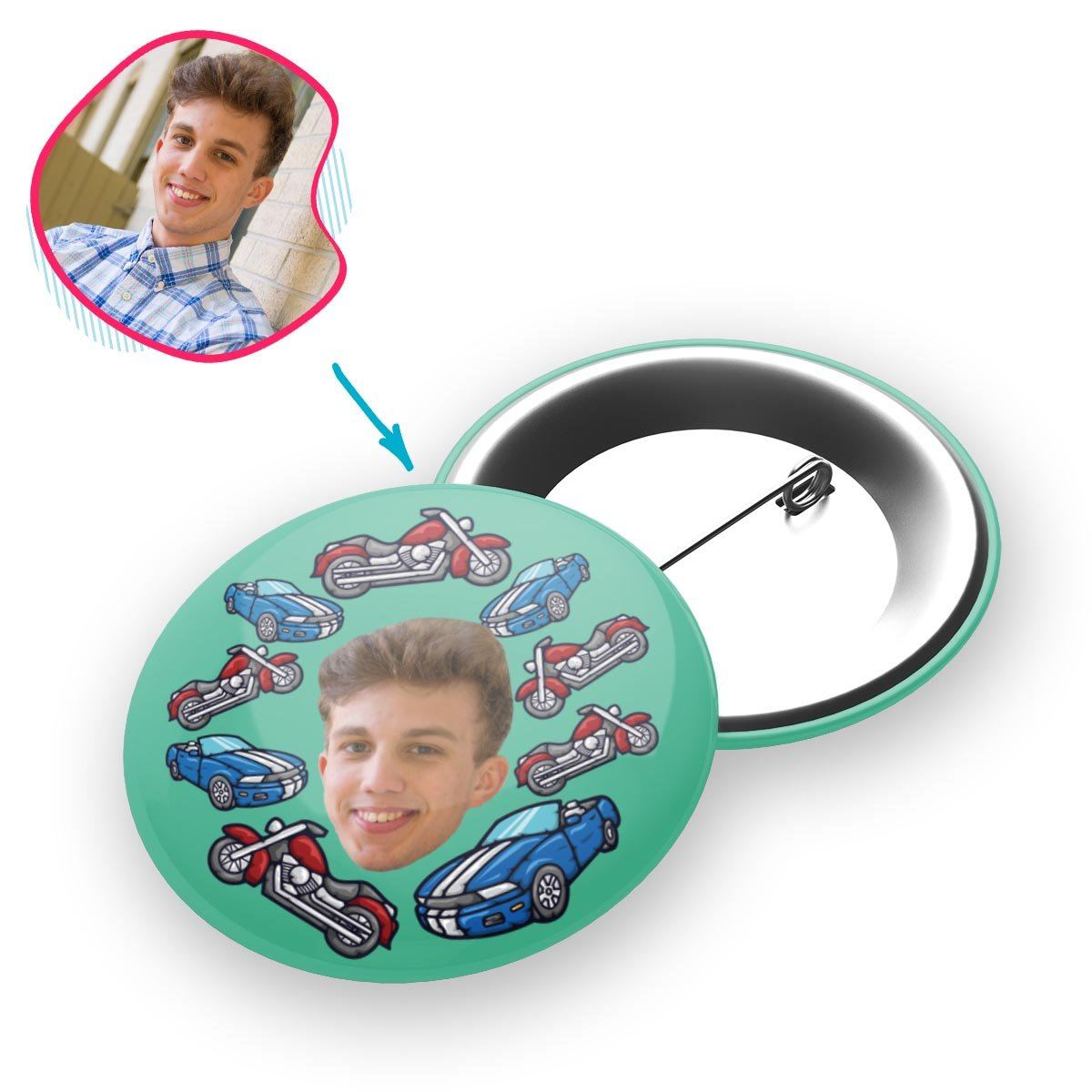 Mint Cars & Motorbikes personalized pin with photo of face printed on it