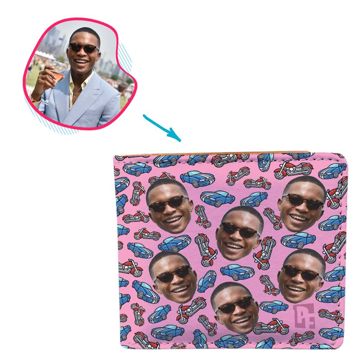 Pink Cars & Motorbikes personalized wallet with photo of face printed on it