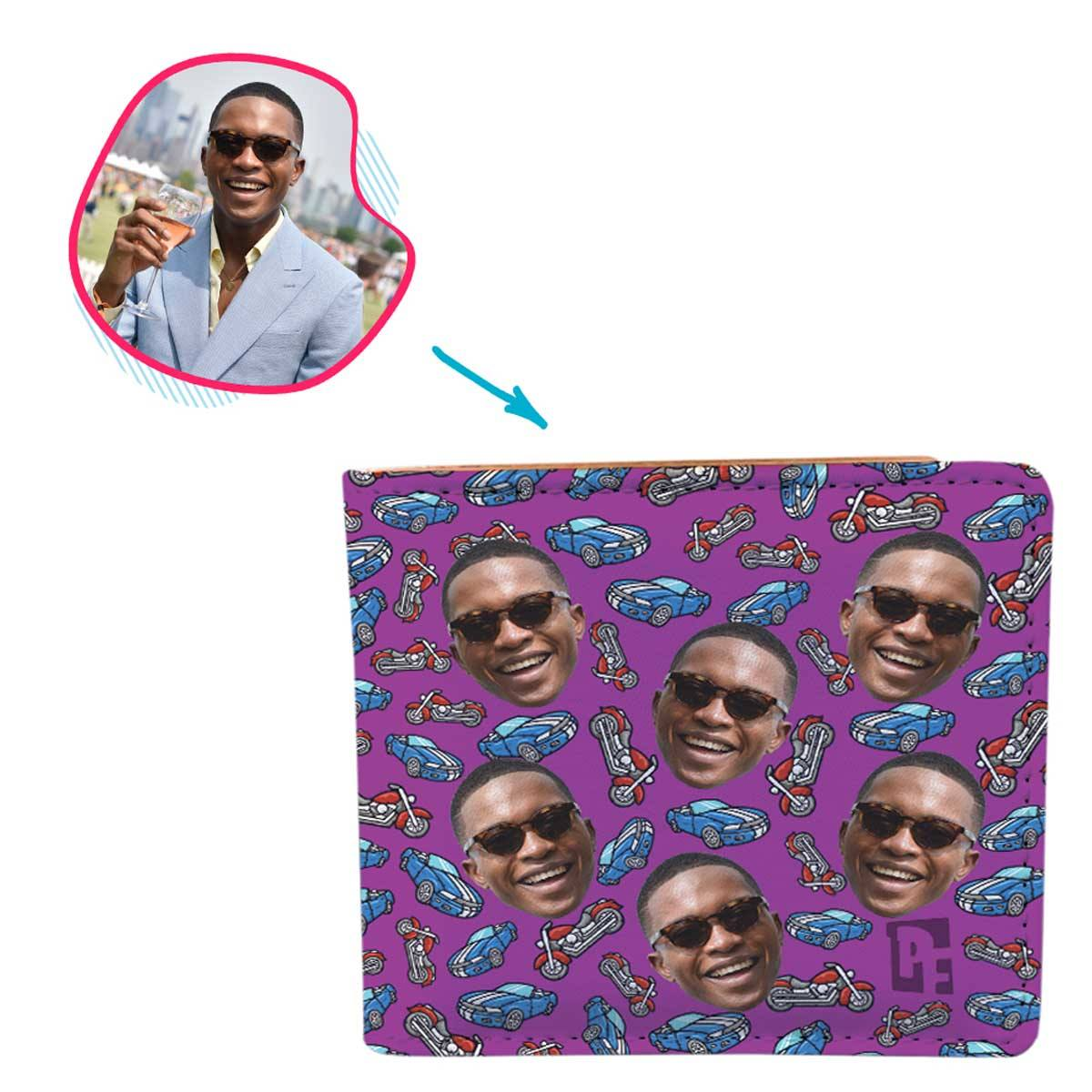 Purple Cars & Motorbikes personalized wallet with photo of face printed on it