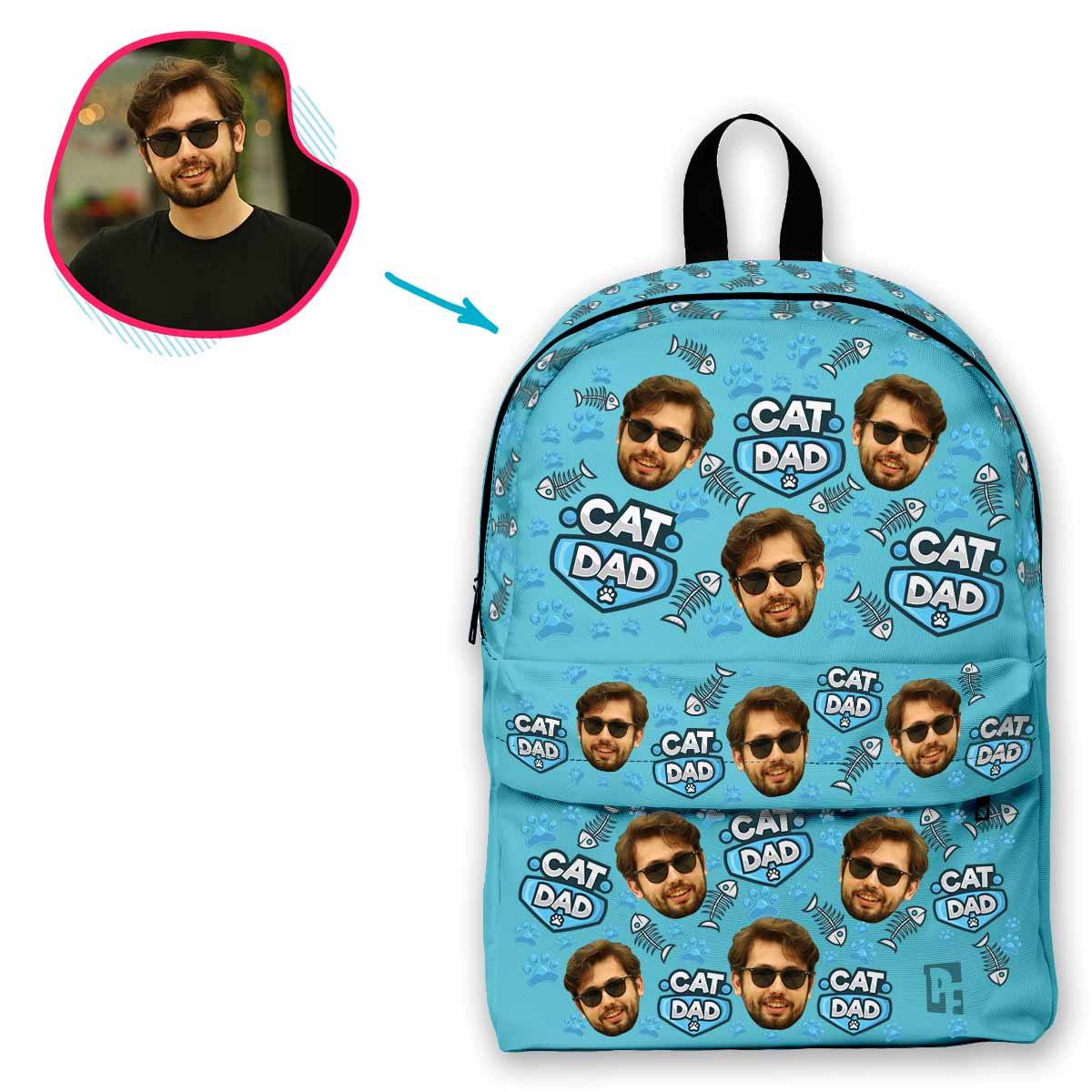 blue Cat Dad classic backpack personalized with photo of face printed on it