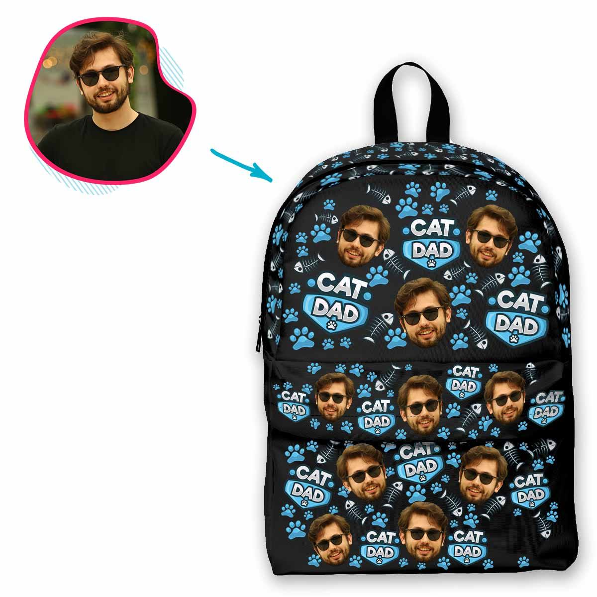 dark Cat Dad classic backpack personalized with photo of face printed on it