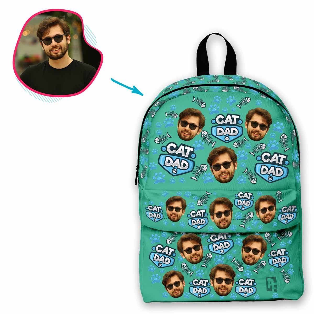mint Cat Dad classic backpack personalized with photo of face printed on it