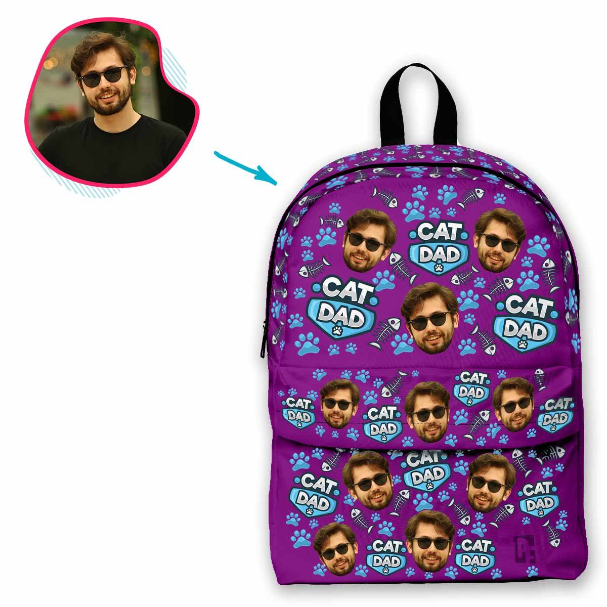 purple Cat Dad classic backpack personalized with photo of face printed on it