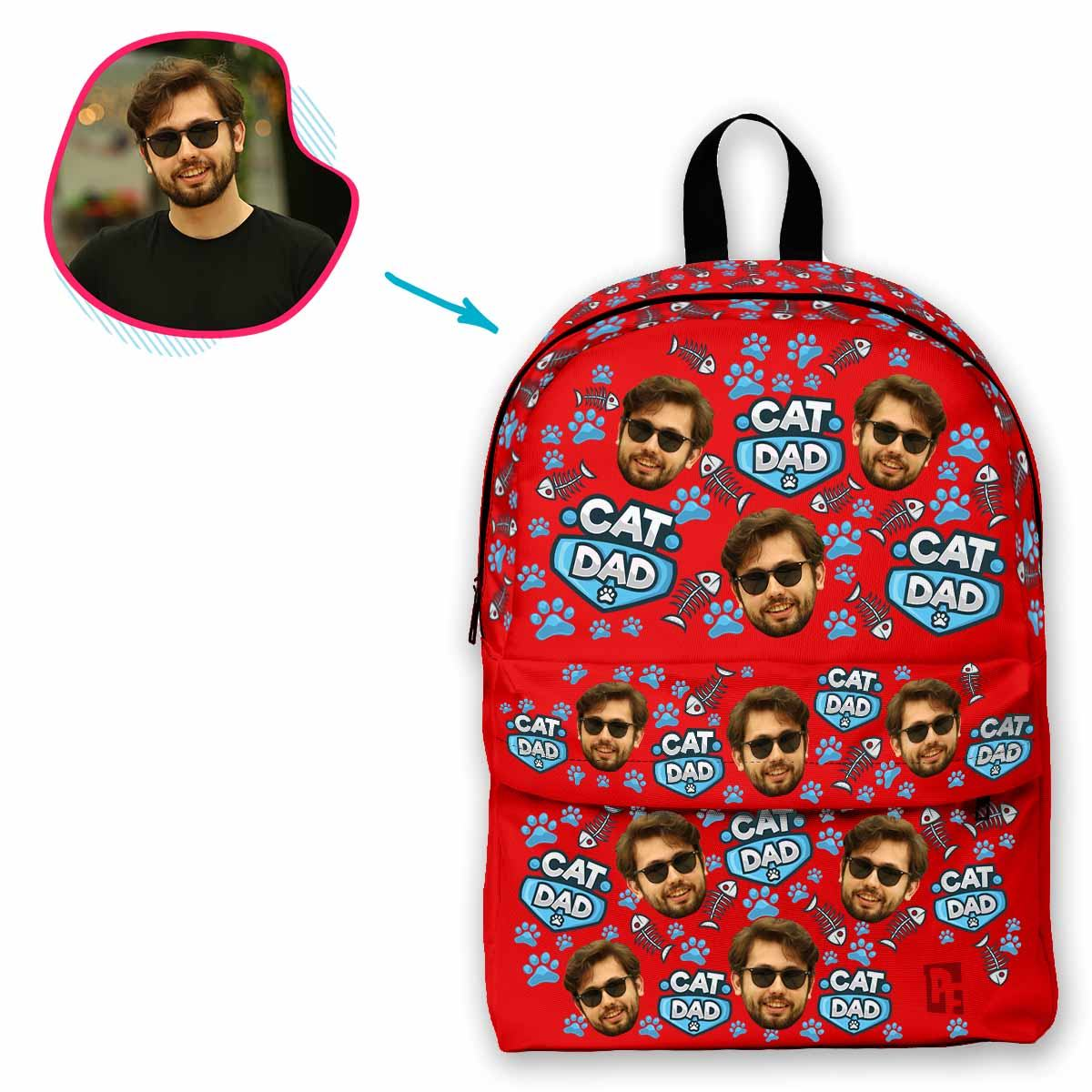 red Cat Dad classic backpack personalized with photo of face printed on it