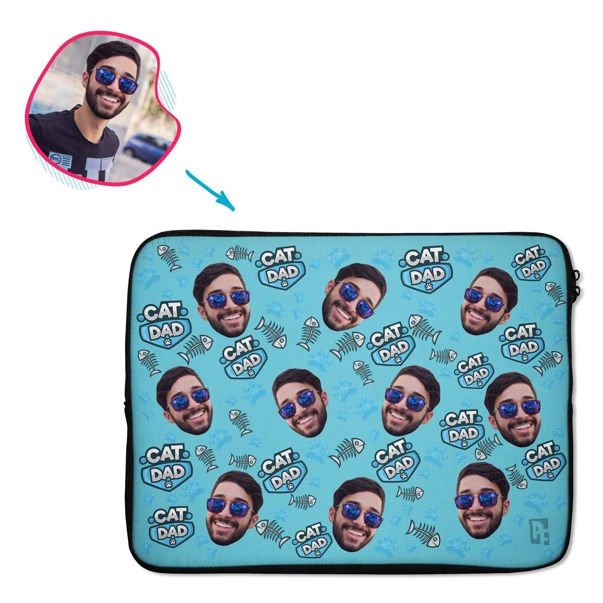 blue Cat Dad laptop sleeve personalized with photo of face printed on them