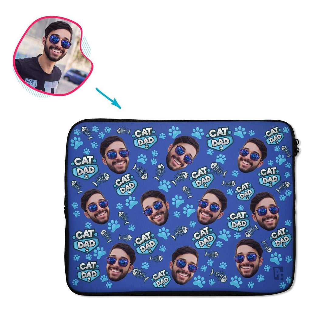 darkblue Cat Dad laptop sleeve personalized with photo of face printed on them