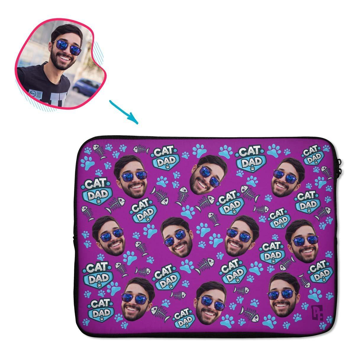 purple Cat Dad laptop sleeve personalized with photo of face printed on them