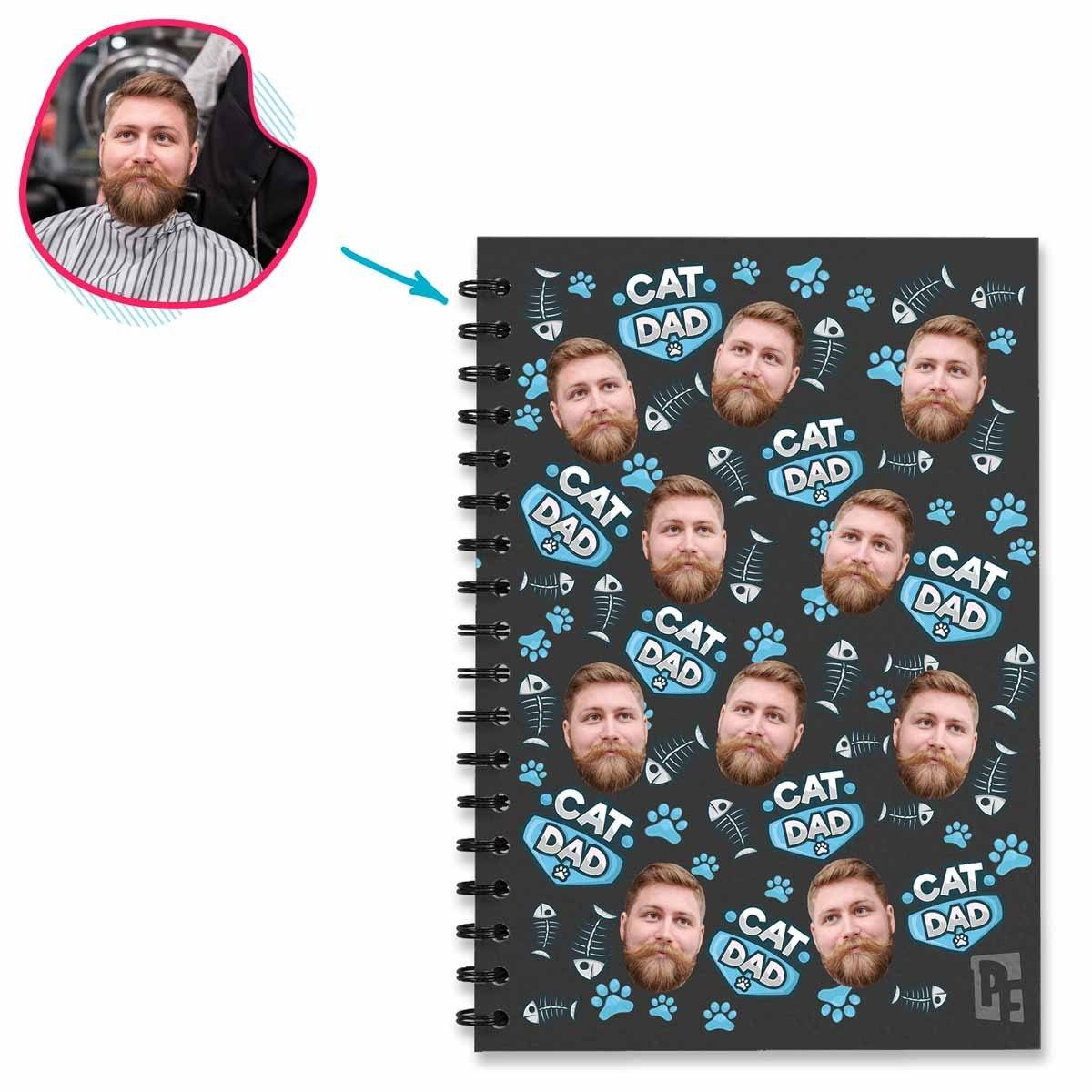 dark Cat Dad Notebook personalized with photo of face printed on them