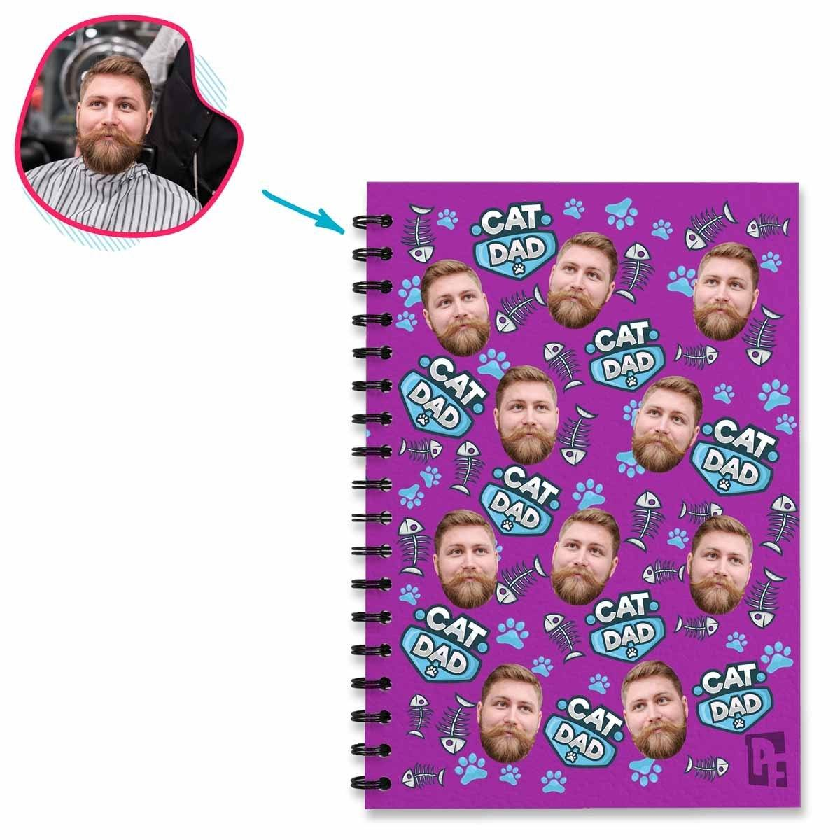 purple Cat Dad Notebook personalized with photo of face printed on them