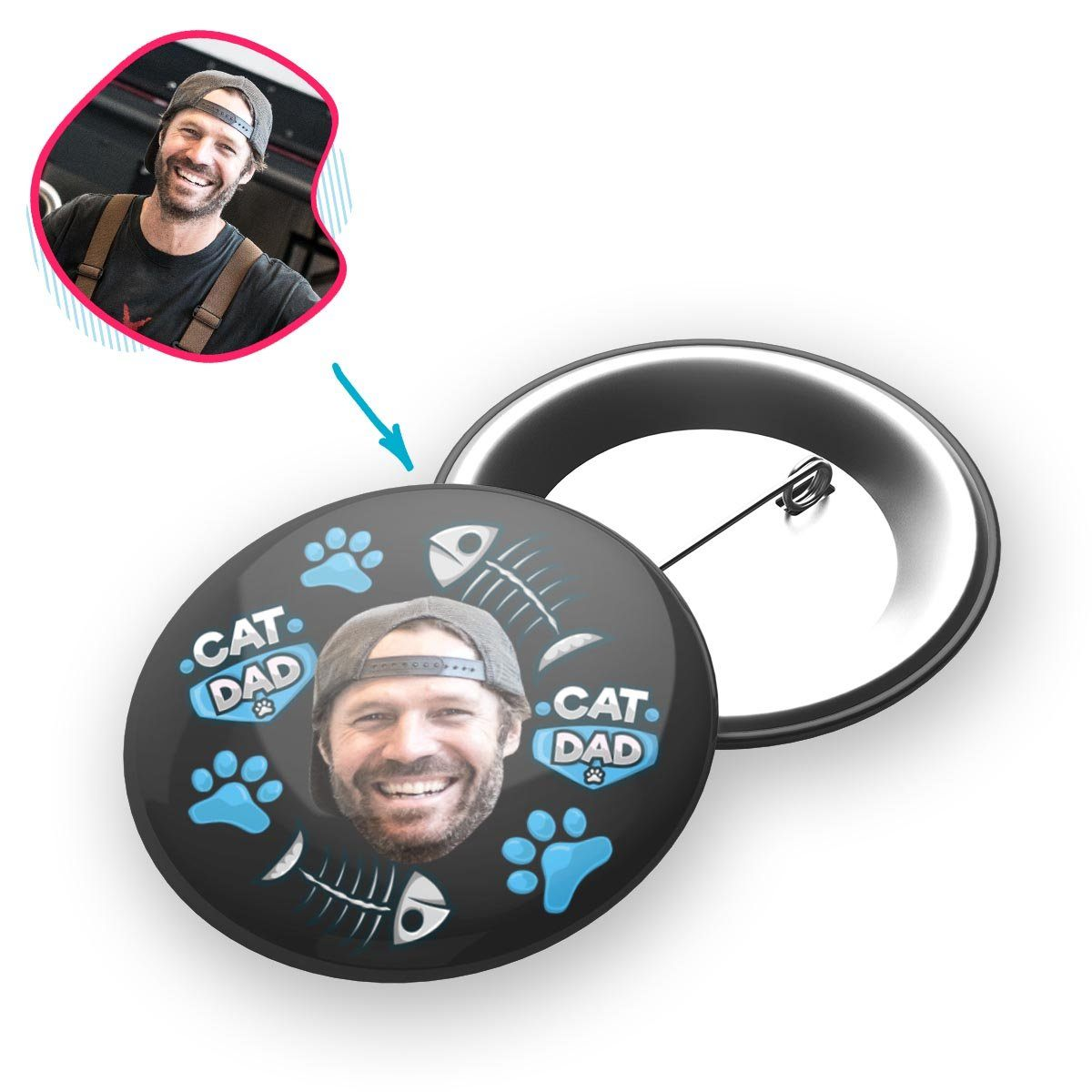 dark Cat Dad pin personalized with photo of face printed on it