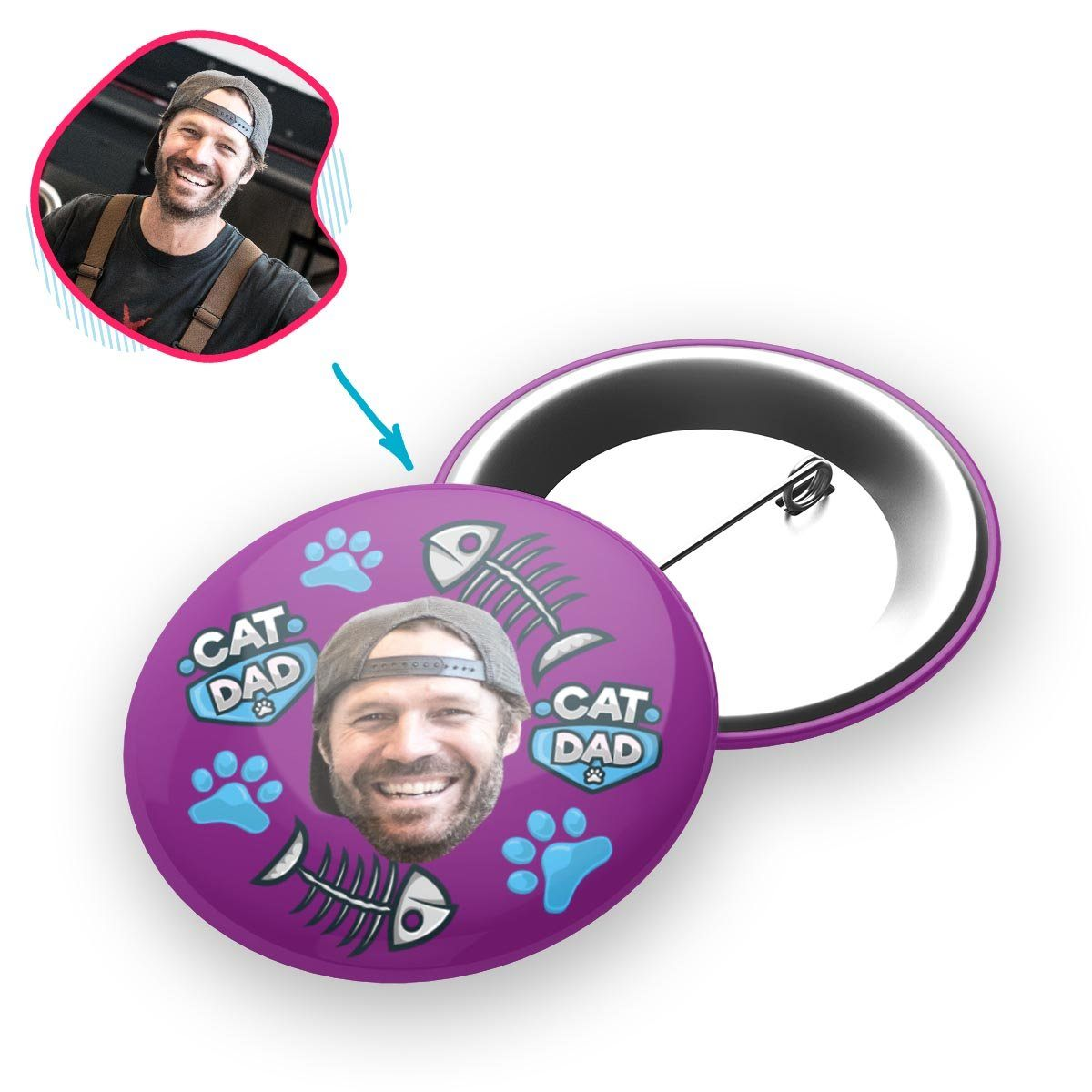 purple Cat Dad pin personalized with photo of face printed on it