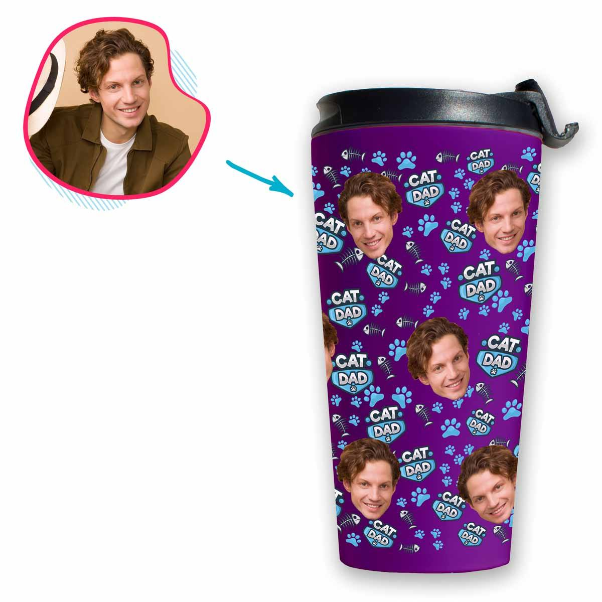 purple Cat Dad travel mug personalized with photo of face printed on it
